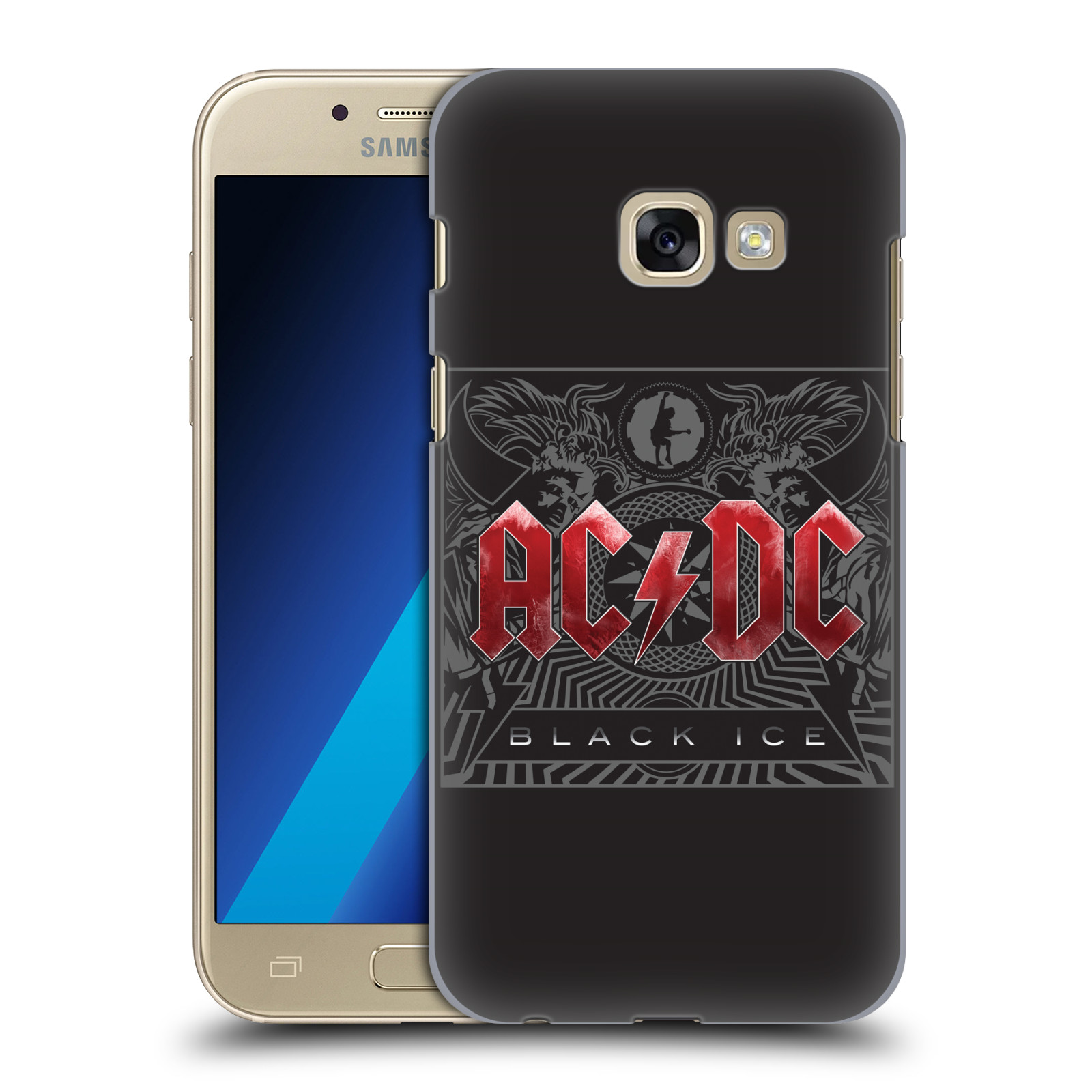 Plastové pouzdro na mobil Samsung Galaxy A3 (2017) HEAD CASE AC/DC Black Ice (Plastový kryt či obal na mobilní telefon s oficiálním motivem australské skupiny AC/DC pro Samsung Galaxy A3 2017 SM-A320)