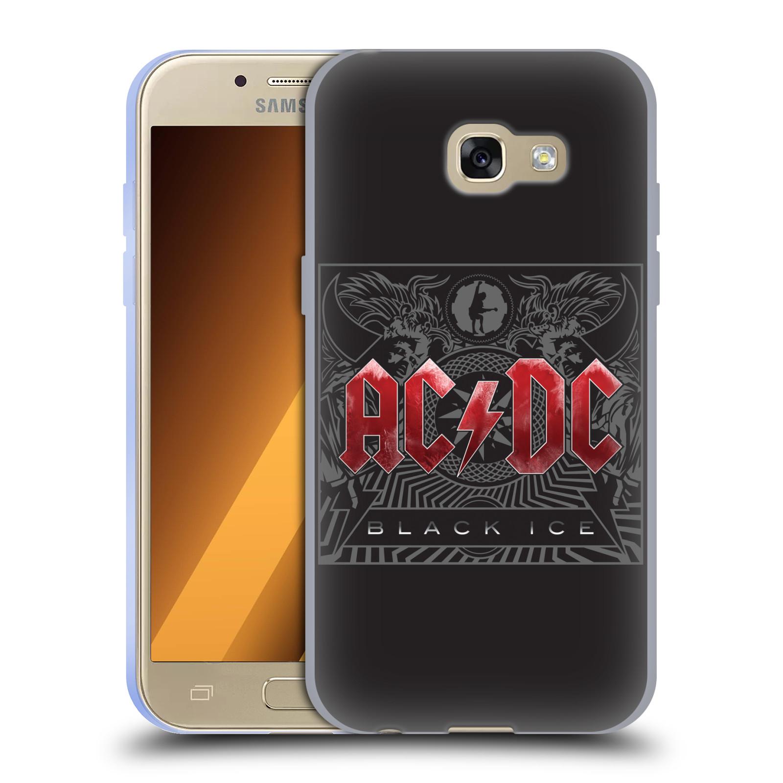 Silikonové pouzdro na mobil Samsung Galaxy A3 (2017) HEAD CASE AC/DC Black Ice (Silikonový kryt či obal na mobilní telefon s oficiálním motivem australské skupiny AC/DC pro Samsung Galaxy A3 2017 SM-A320)