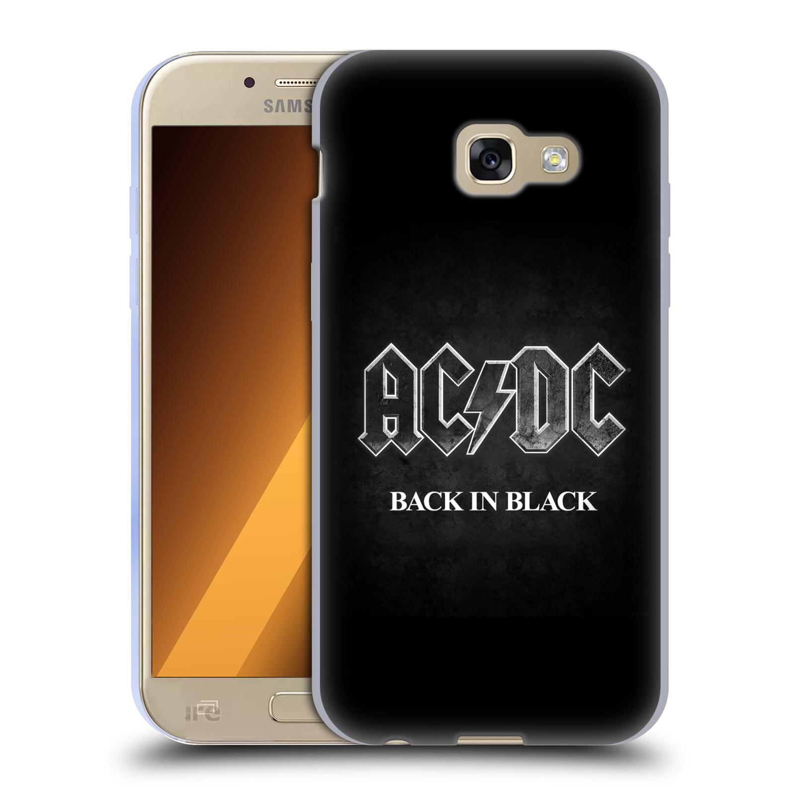 Silikonové pouzdro na mobil Samsung Galaxy A5 (2017) HEAD CASE AC/DC BACK IN BLACK (Silikonový kryt či obal na mobilní telefon s oficiálním motivem australské skupiny AC/DC pro Samsung Galaxy A5 2017 SM-A520)