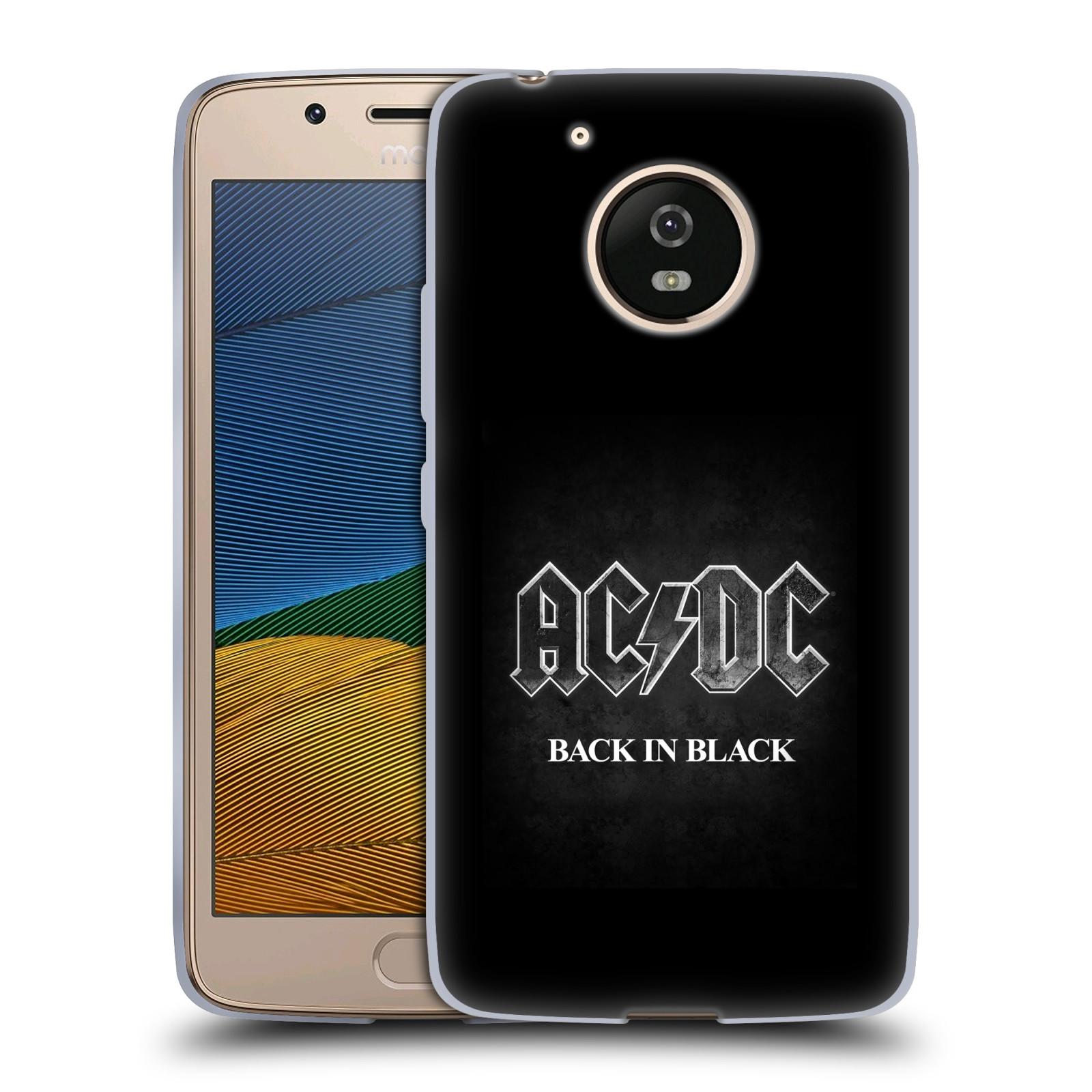 Silikonové pouzdro na mobil Lenovo Moto G5 - Head Case AC/DC BACK IN BLACK (Silikonový kryt či obal na mobilní telefon s oficiálním motivem australské skupiny AC/DC pro Lenovo Moto G5)