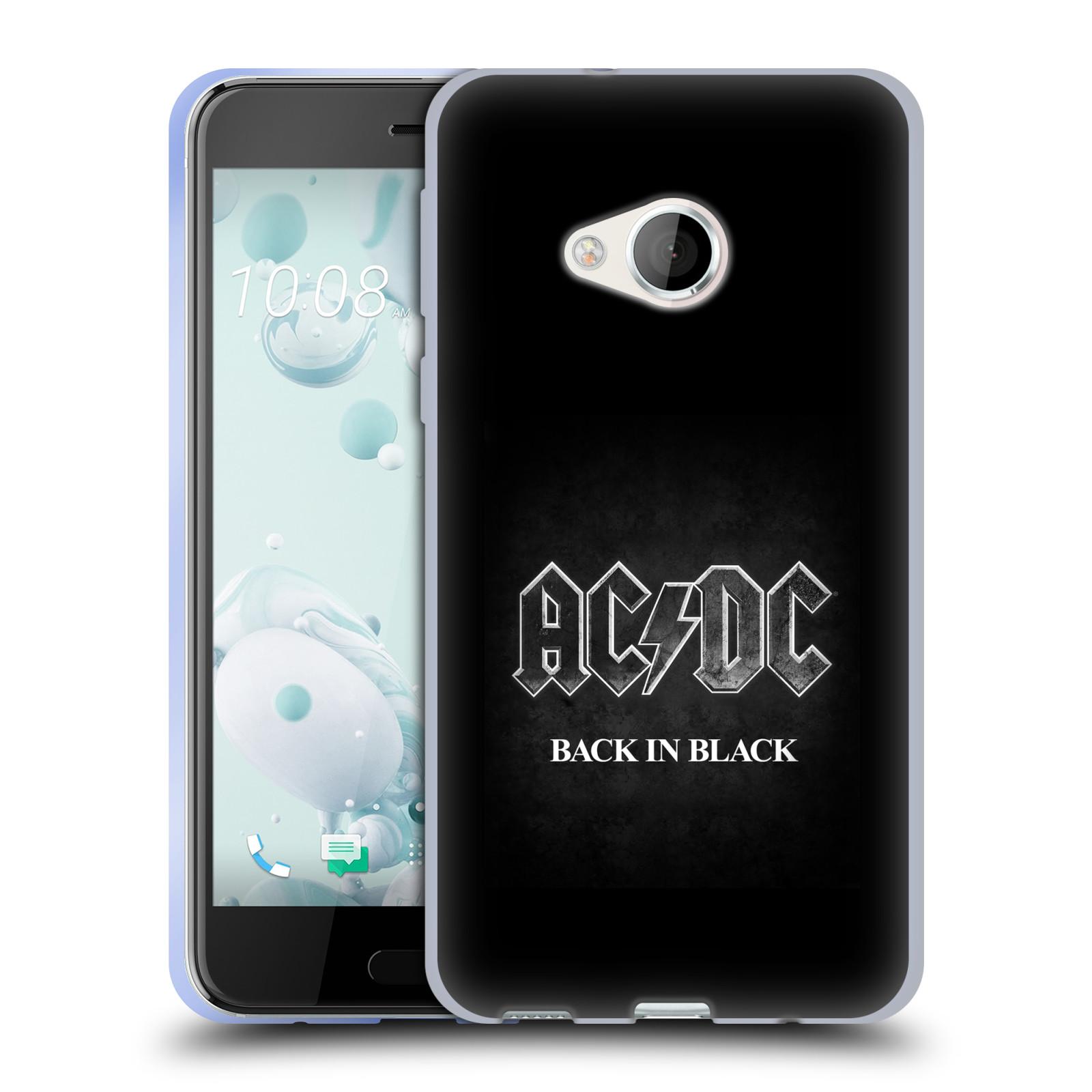 Silikonové pouzdro na mobil HTC U Play - Head Case AC/DC BACK IN BLACK (Silikonový kryt či obal na mobilní telefon s oficiálním motivem australské skupiny AC/DC pro HTC U Play)