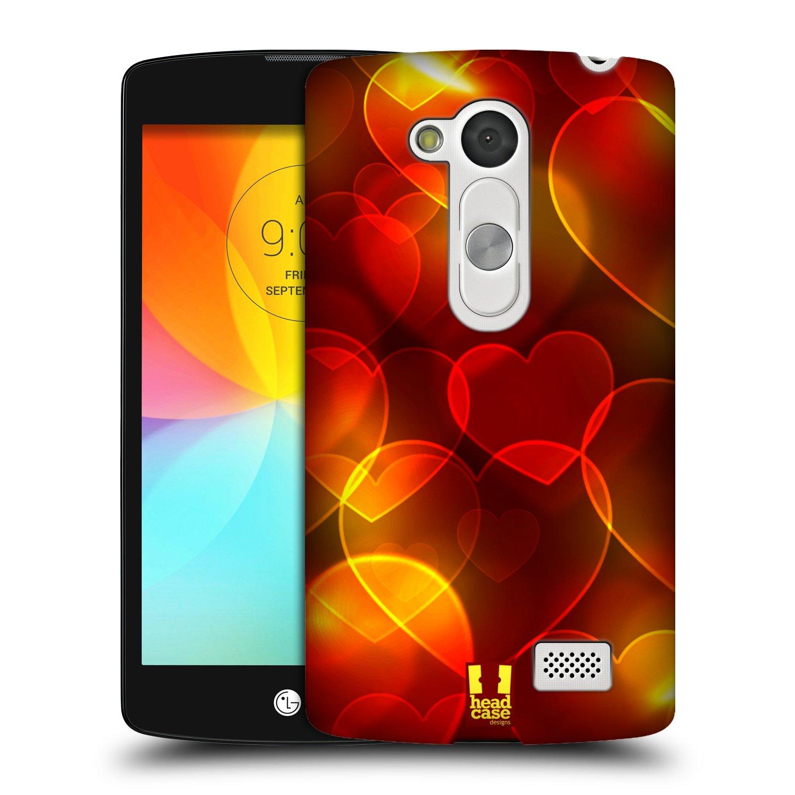 Plastové pouzdro na mobil LG L Fino HEAD CASE SRDÍČKA BOKEH (Kryt či obal na mobilní telefon LG D290n L Fino a LG D295 L Fino Dual)