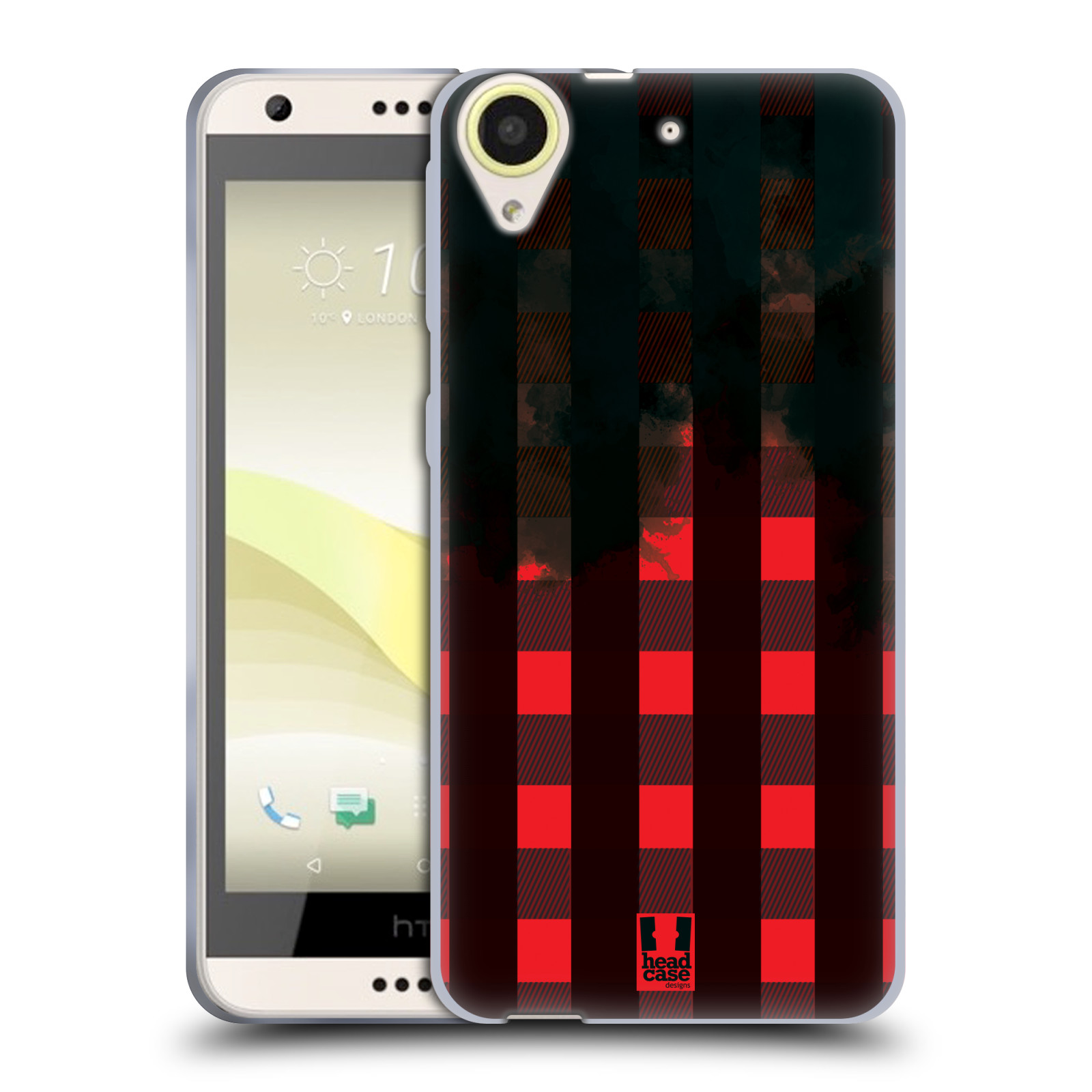 Silikonové pouzdro na mobil HTC Desire 650 HEAD CASE FLANEL RED BLACK (Silikonový kryt či obal na mobilní telefon HTC Desire 650)