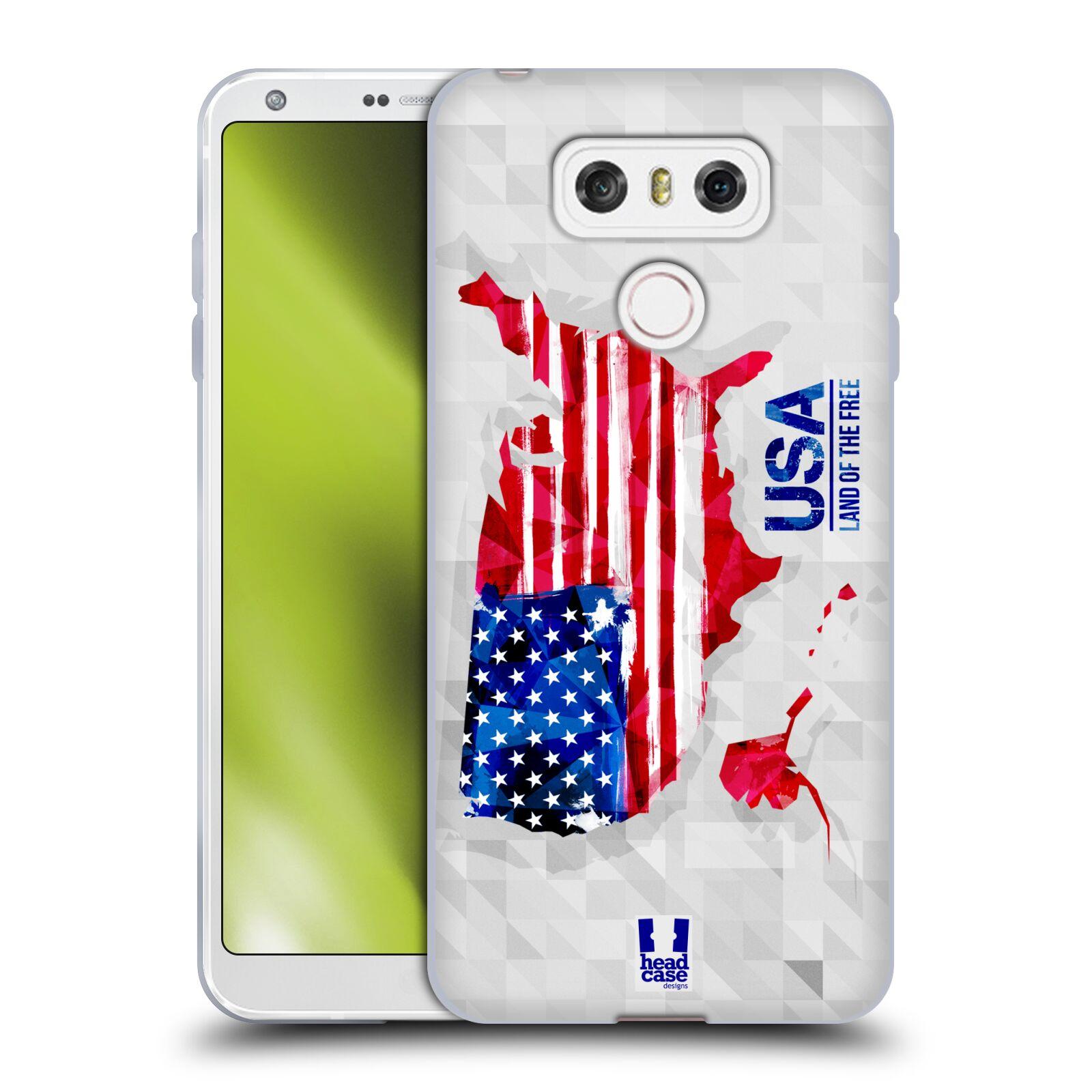 Silikonové pouzdro na mobil LG G6 - Head Case GEOMAPA USA (Silikonový kryt či obal na mobilní telefon LG G6 H870 / LG G6 Dual SIM H870DS)