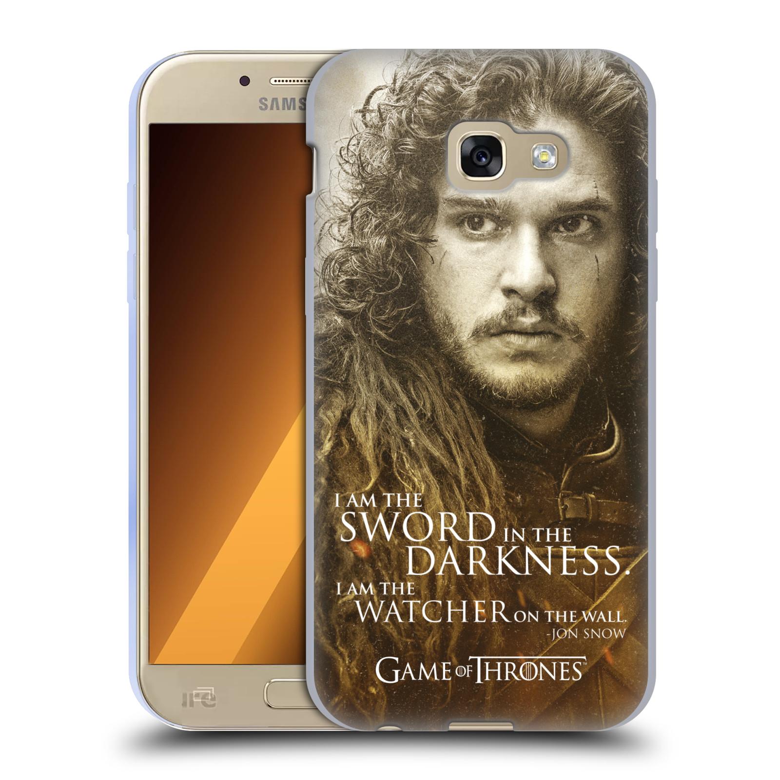 Silikonové pouzdro na mobil Samsung Galaxy A5 (2017) HEAD CASE Hra o trůny - Jon Snow (Silikonový kryt či obal na mobilní telefon s licencovaným motivem Hra o trůny - Game Of Thrones pro Samsung Galaxy A5 2017 SM-A520)