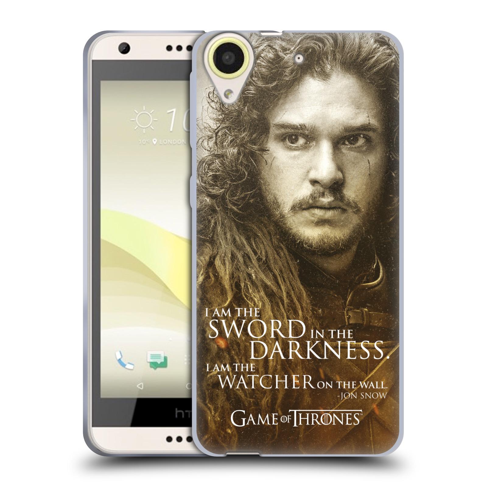 Silikonové pouzdro na mobil HTC Desire 650 HEAD CASE Hra o trůny - Jon Snow (Silikonový kryt či obal na mobilní telefon s licencovaným motivem Hra o trůny - Game Of Thrones pro HTC Desire 650)