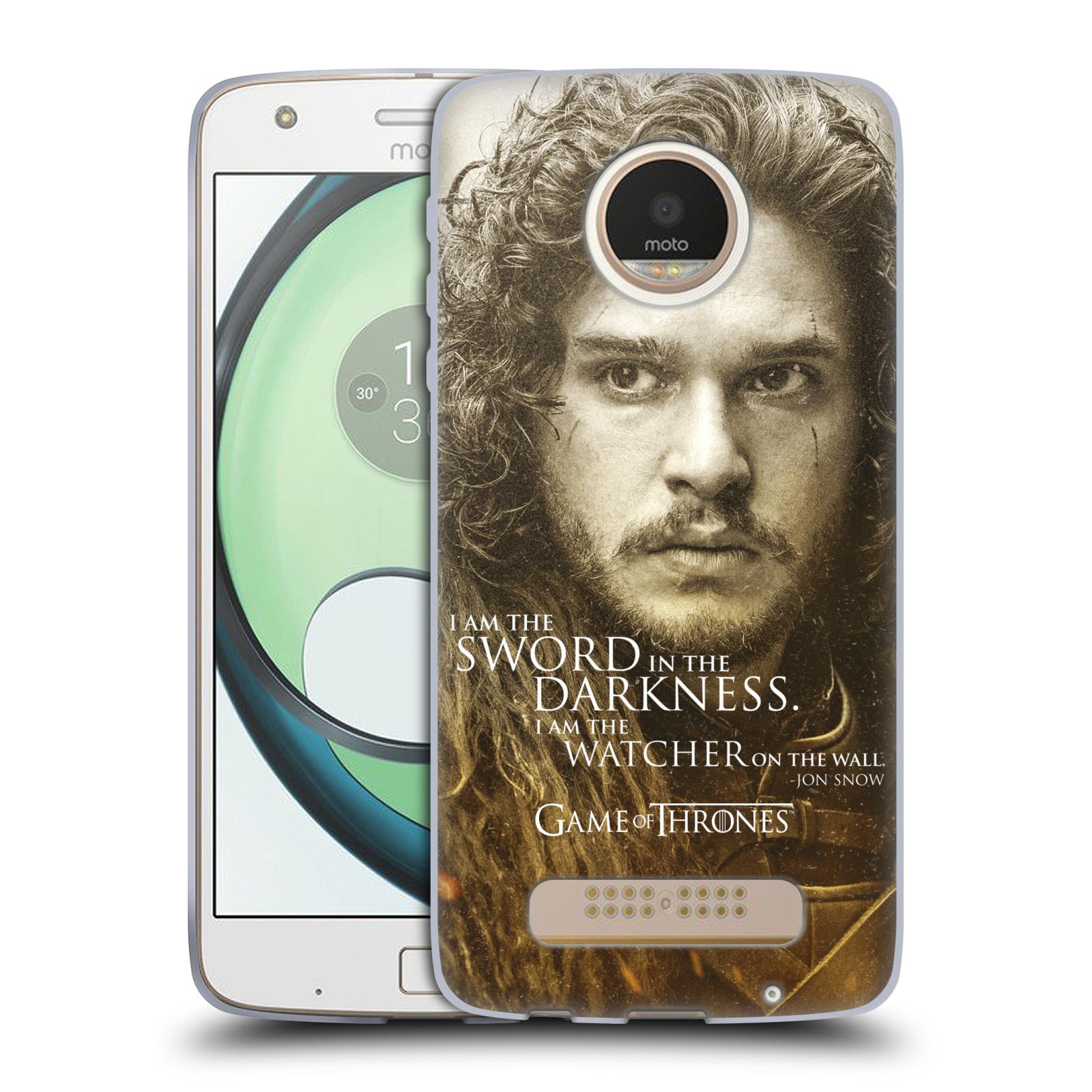 Silikonové pouzdro na mobil Lenovo Moto Z Play HEAD CASE Hra o trůny - Jon Snow (Silikonový kryt či obal na mobilní telefon s licencovaným motivem Hra o trůny - Game Of Thrones pro Lenovo Moto Z Play)