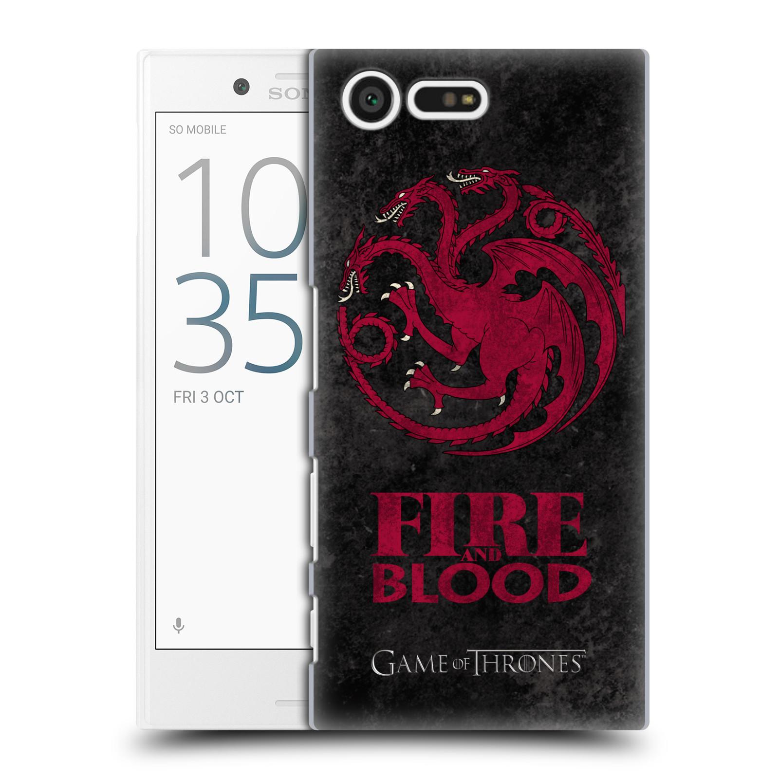 Plastové pouzdro na mobil Sony Xperia X Compact HEAD CASE Hra o trůny - Sigils Targaryen - Fire and Blood (Plastový kryt či obal na mobilní telefon s licencovaným motivem Hra o trůny - Game Of Thrones pro Sony Xperia X Compact F5321)