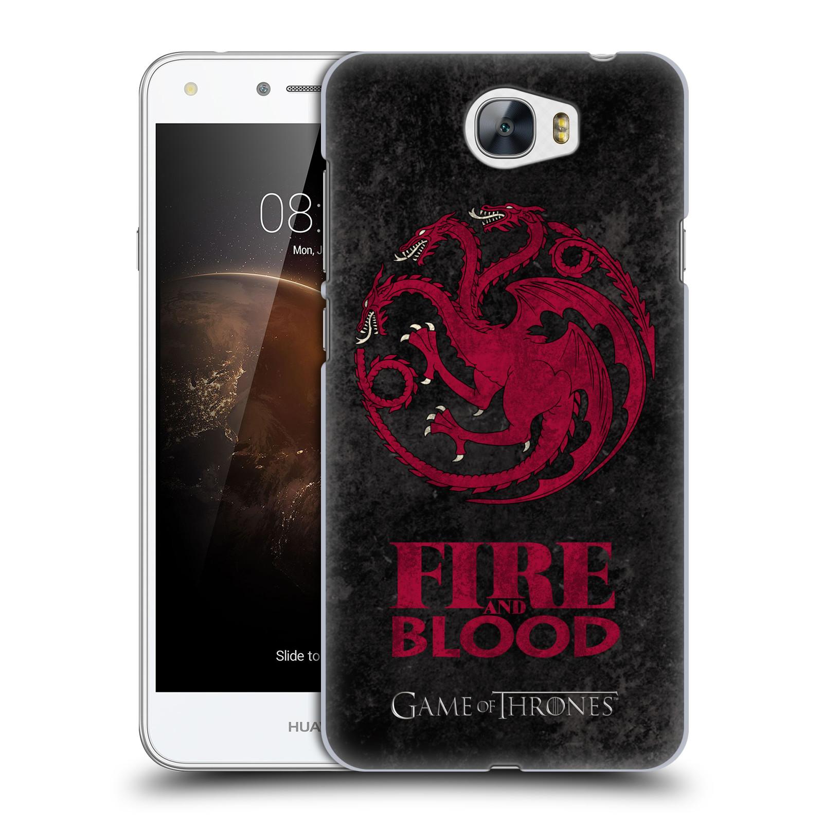 Plastové pouzdro na mobil Huawei Y5 II HEAD CASE Hra o trůny - Sigils Targaryen - Fire and Blood (Plastový kryt či obal na mobilní telefon s licencovaným motivem Hra o trůny - Game Of Thrones pro Huawei Y5 II)