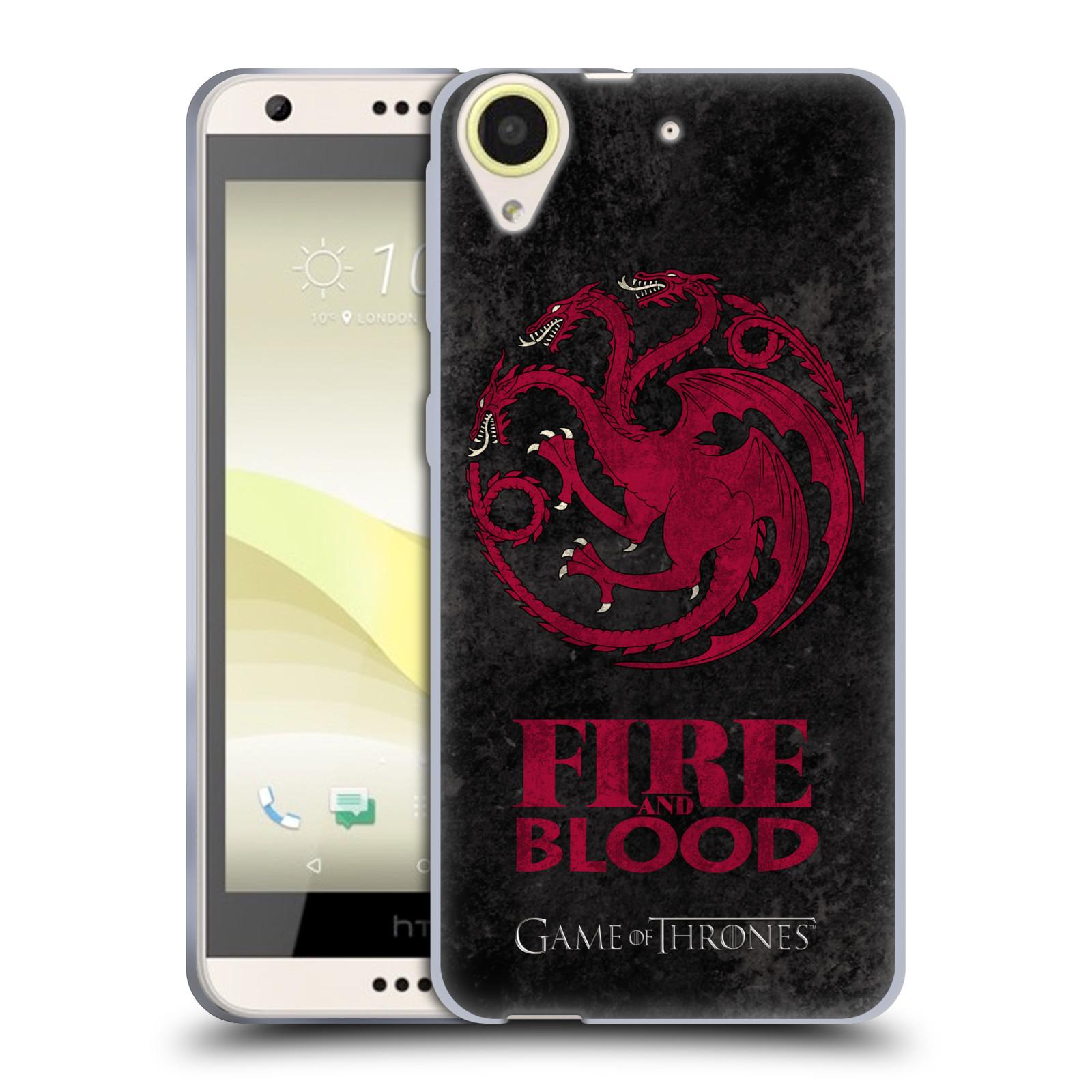 Silikonové pouzdro na mobil HTC Desire 650 HEAD CASE Hra o trůny - Sigils Targaryen - Fire and Blood (Silikonový kryt či obal na mobilní telefon s licencovaným motivem Hra o trůny - Game Of Thrones pro HTC Desire 650)