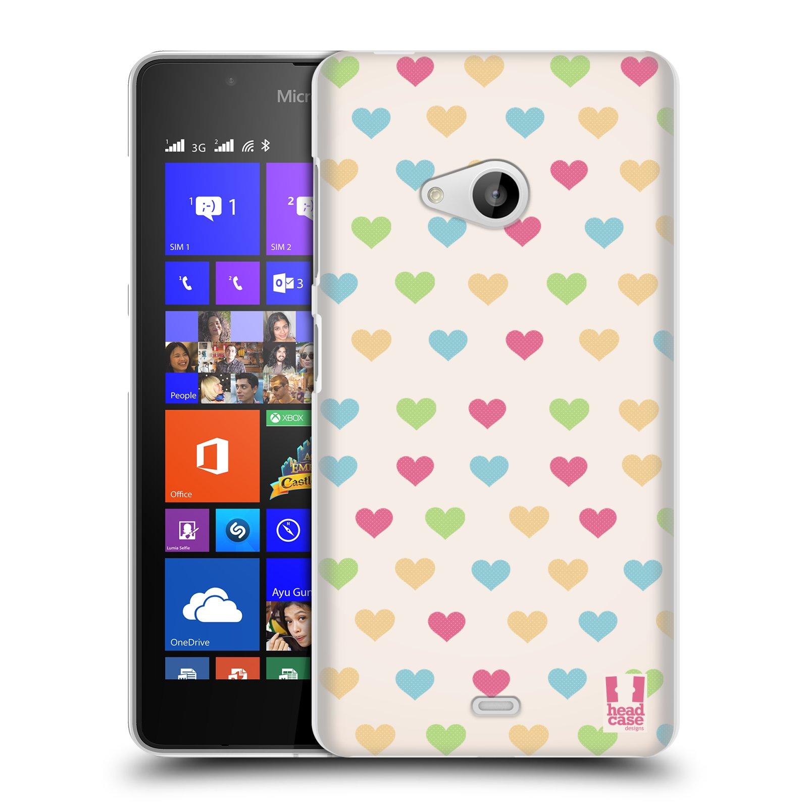 Plastové pouzdro na mobil Microsoft Lumia 540 Dual HEAD CASE SRDÍČKA BAREVNÁ