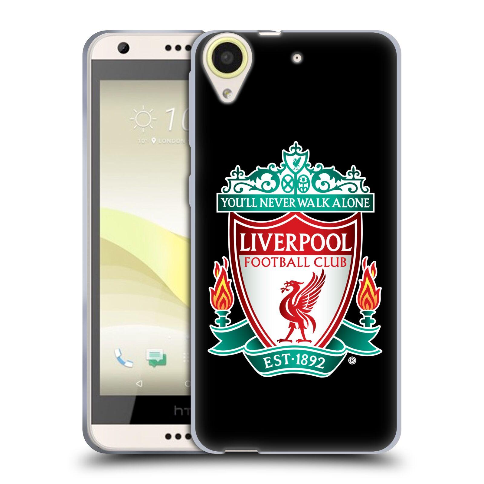 Silikonové pouzdro na mobil HTC Desire 650 HEAD CASE ZNAK LIVERPOOL FC OFFICIAL BLACK (Silikonový kryt či obal na mobilní telefon Liverpool FC Official pro HTC Desire 650)
