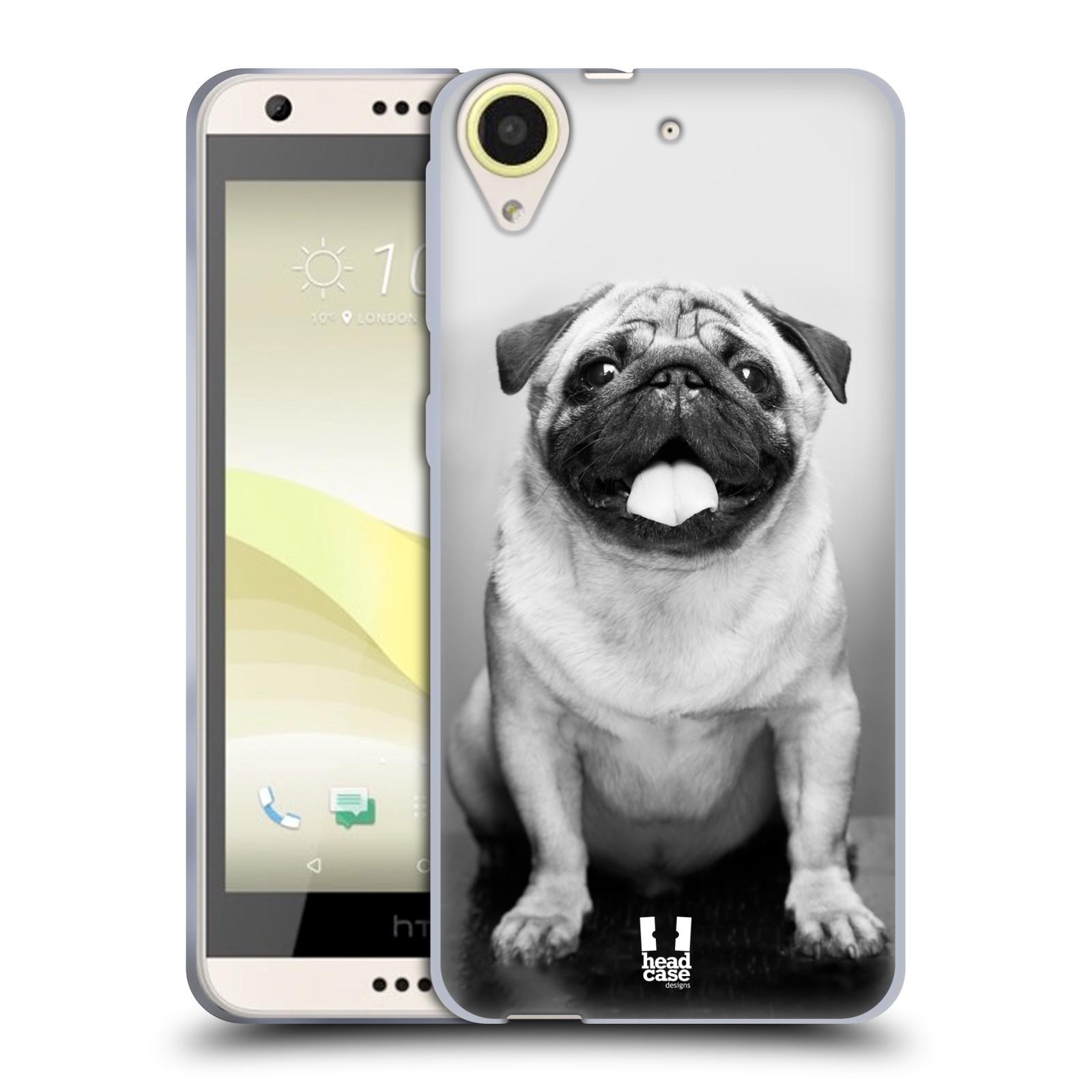 Silikonové pouzdro na mobil HTC Desire 650 HEAD CASE MOPSÍK (Silikonový kryt či obal na mobilní telefon HTC Desire 650)