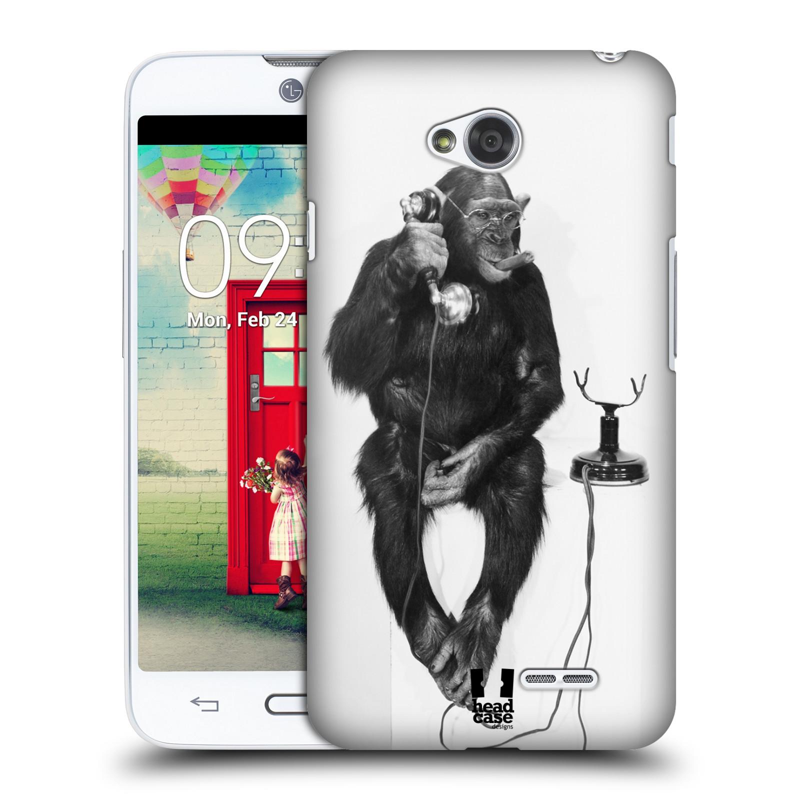 Plastové pouzdro na mobil LG L70 HEAD CASE OPIČÁK S TELEFONEM (Kryt či obal na mobilní telefon LG L70 D320n)