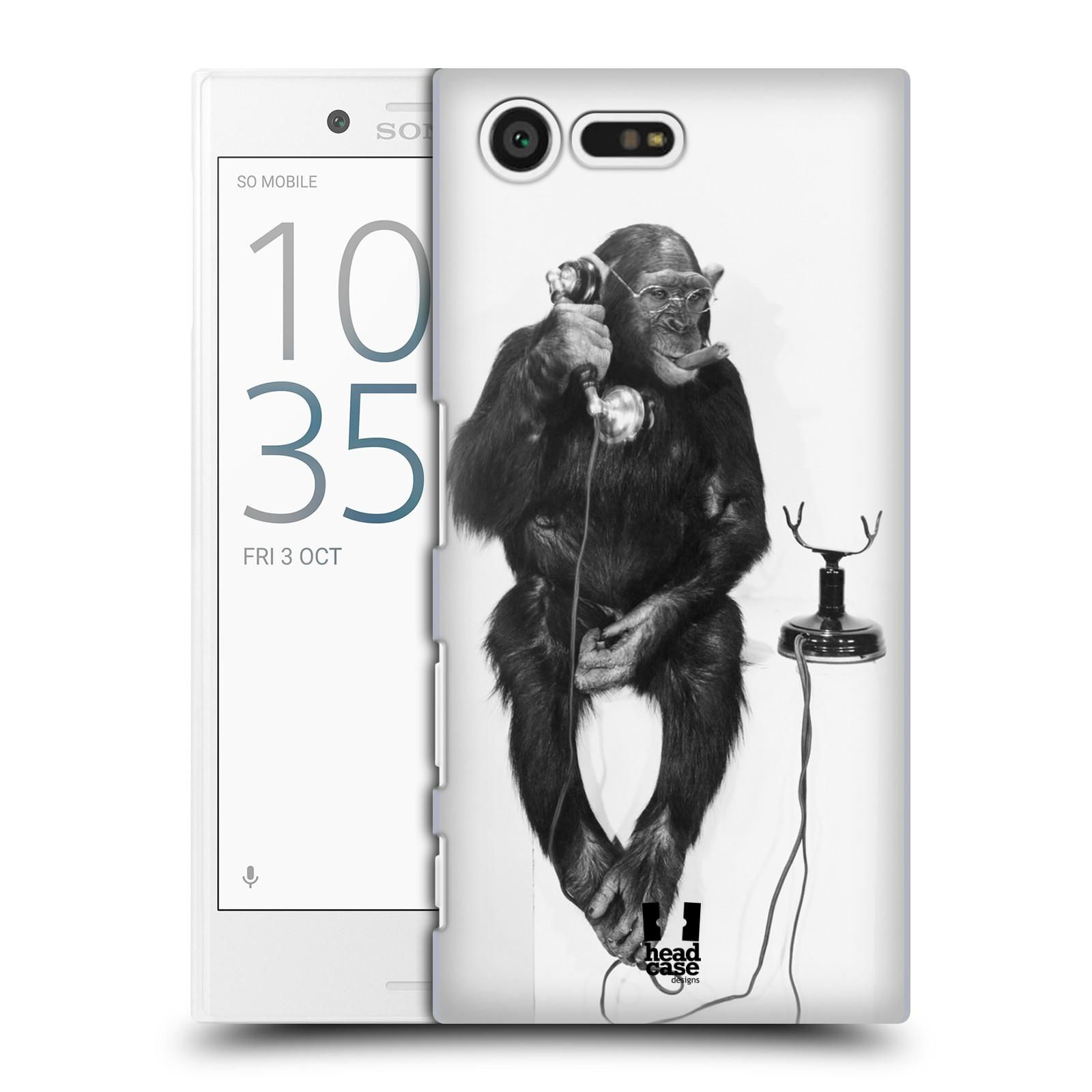 Plastové pouzdro na mobil Sony Xperia X Compact HEAD CASE OPIČÁK S TELEFONEM (Plastový kryt či obal na mobilní telefon Sony Xperia X Compact F5321)