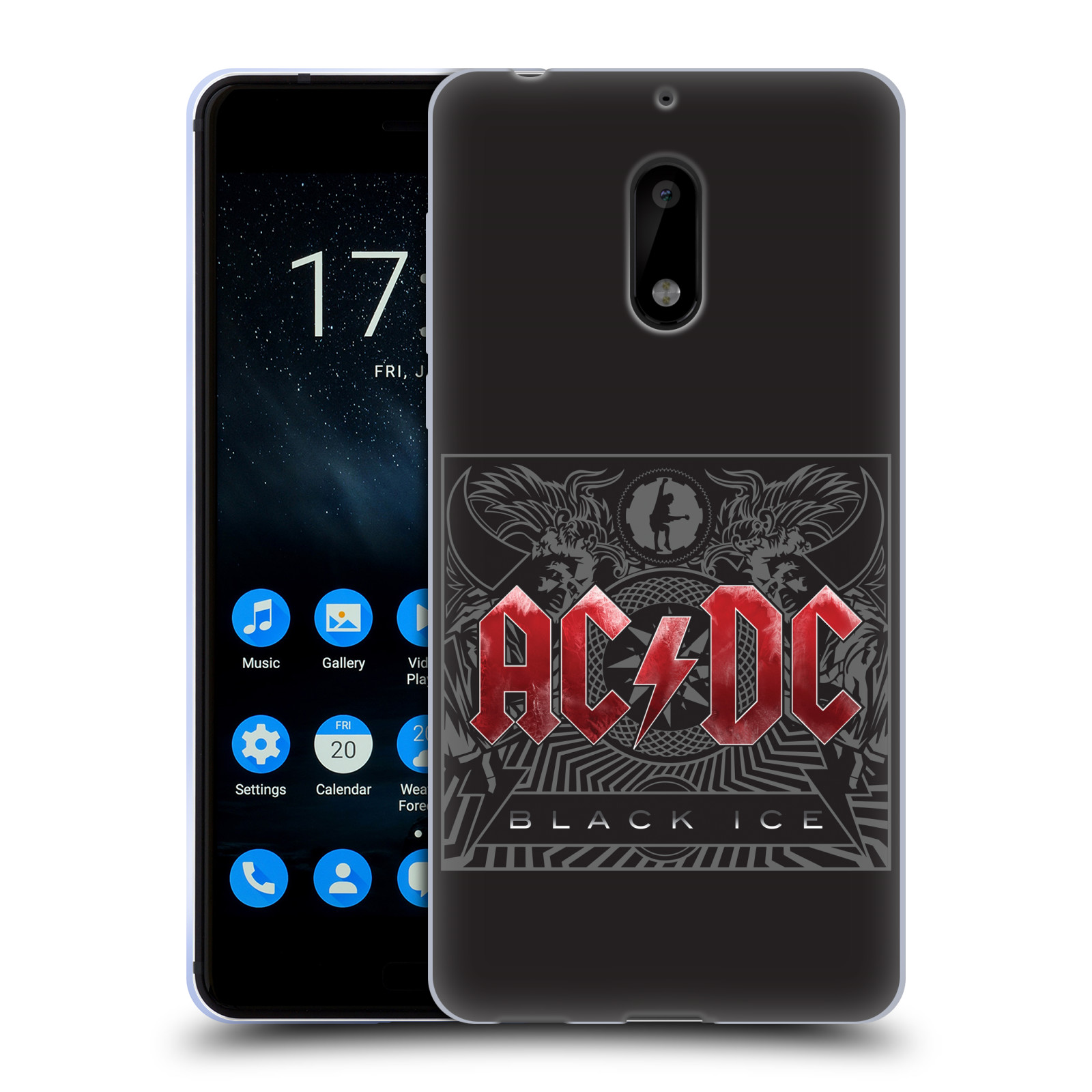 Silikonové pouzdro na mobil Nokia 6 - Head Case - AC/DC Black Ice