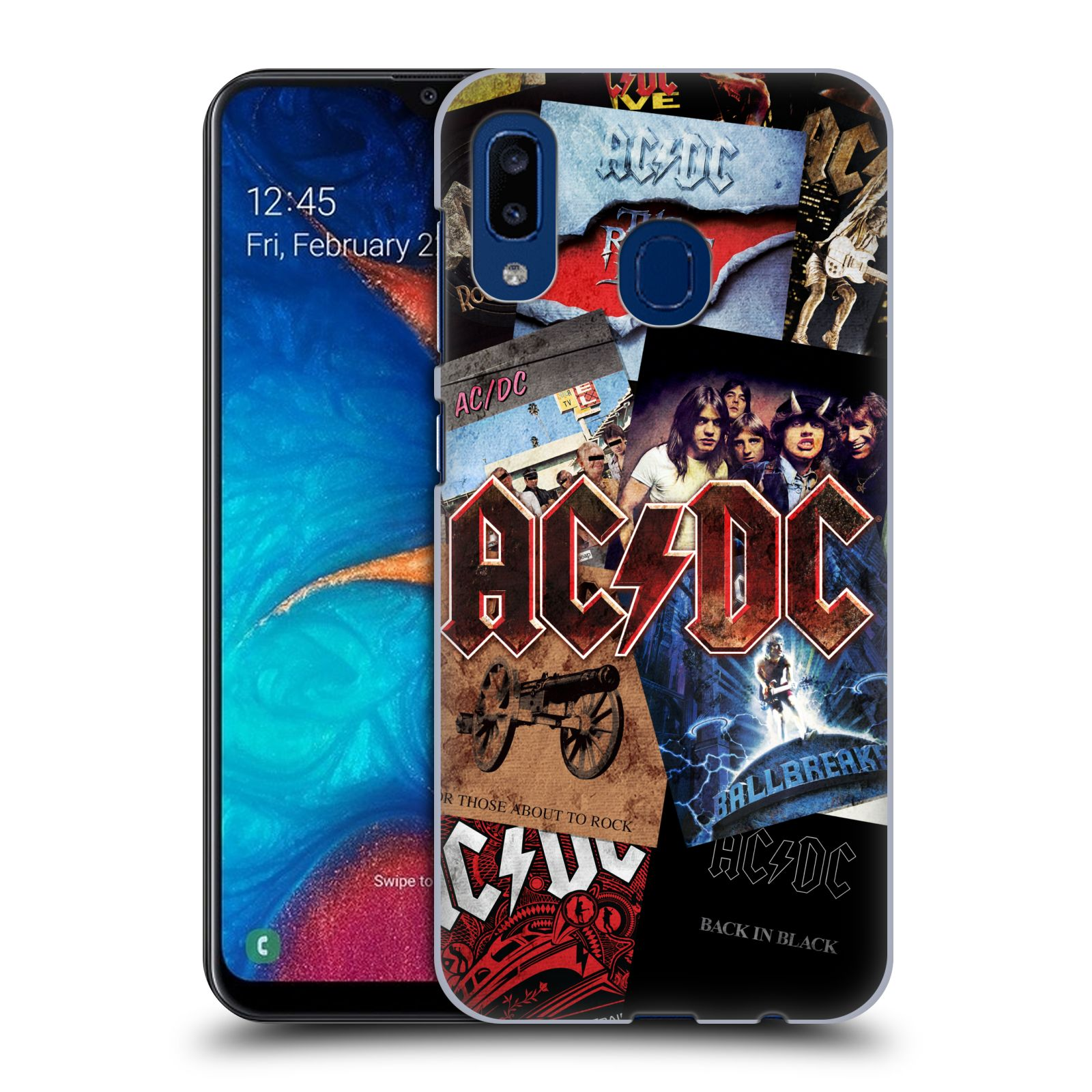 Plastové pouzdro na mobil Samsung Galaxy A20 - Head Case - AC/DC Koláž desek