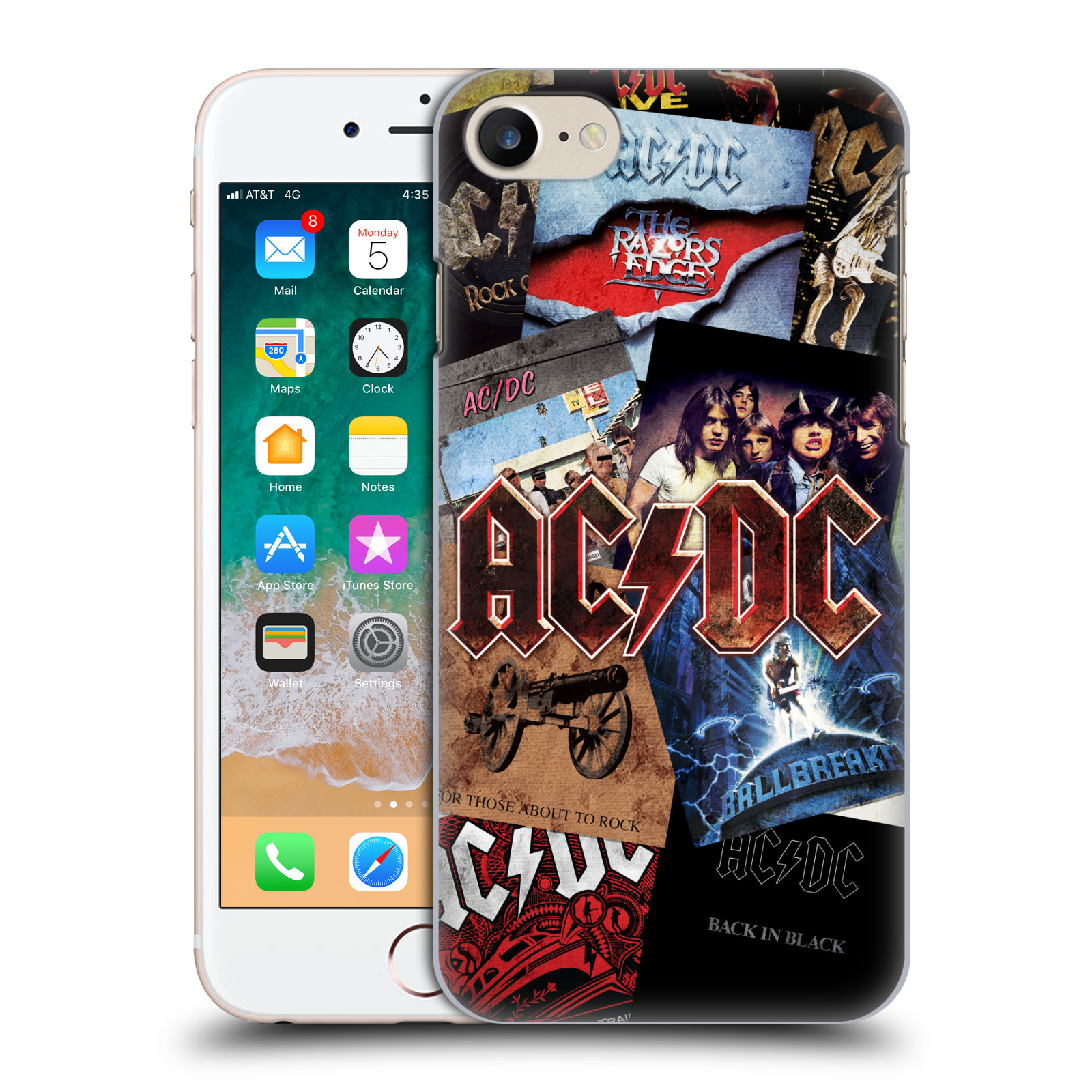 Plastové pouzdro na mobil Apple iPhone SE (2020) - Head Case - AC/DC Koláž desek