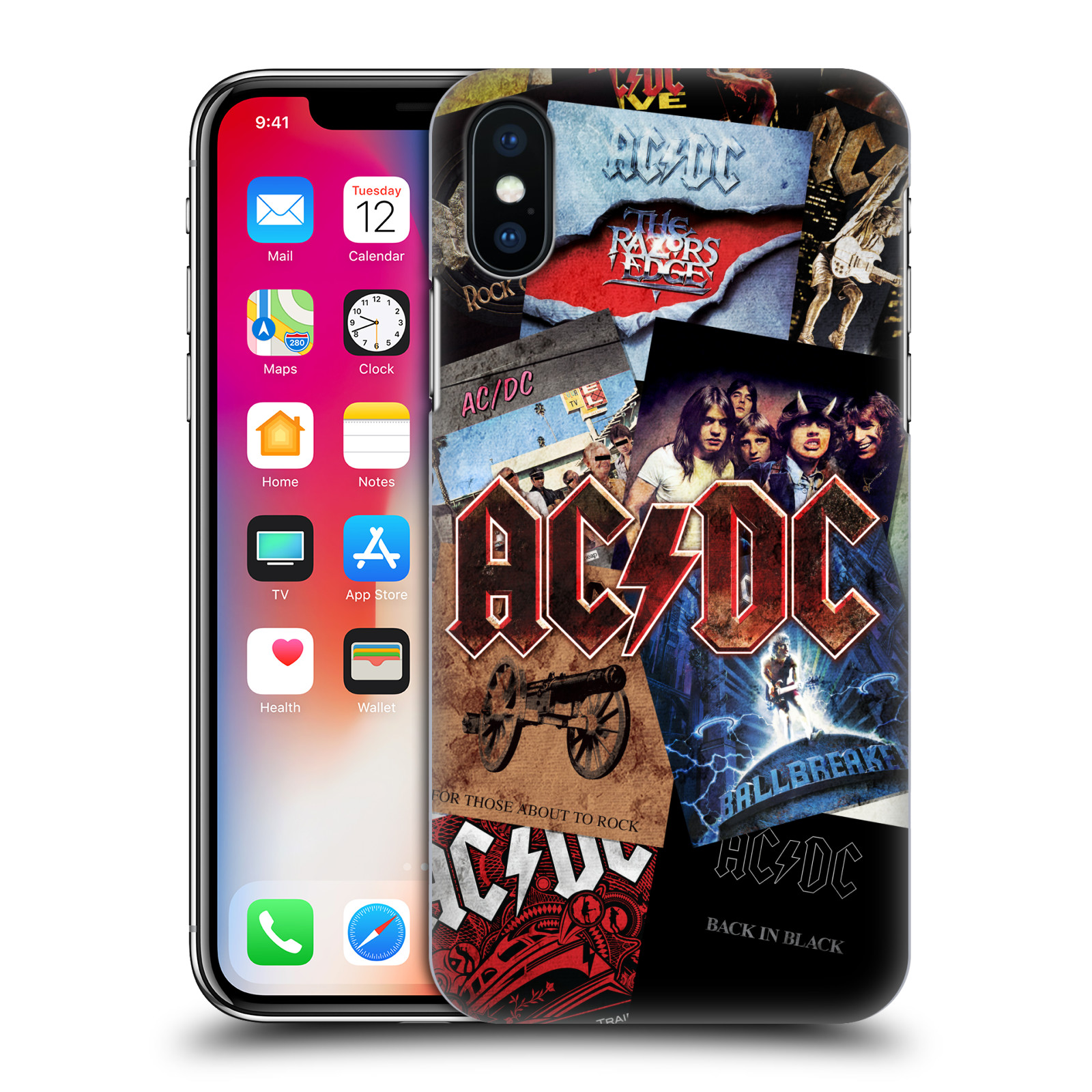 Plastové pouzdro na mobil Apple iPhone X - Head Case - AC/DC Koláž desek