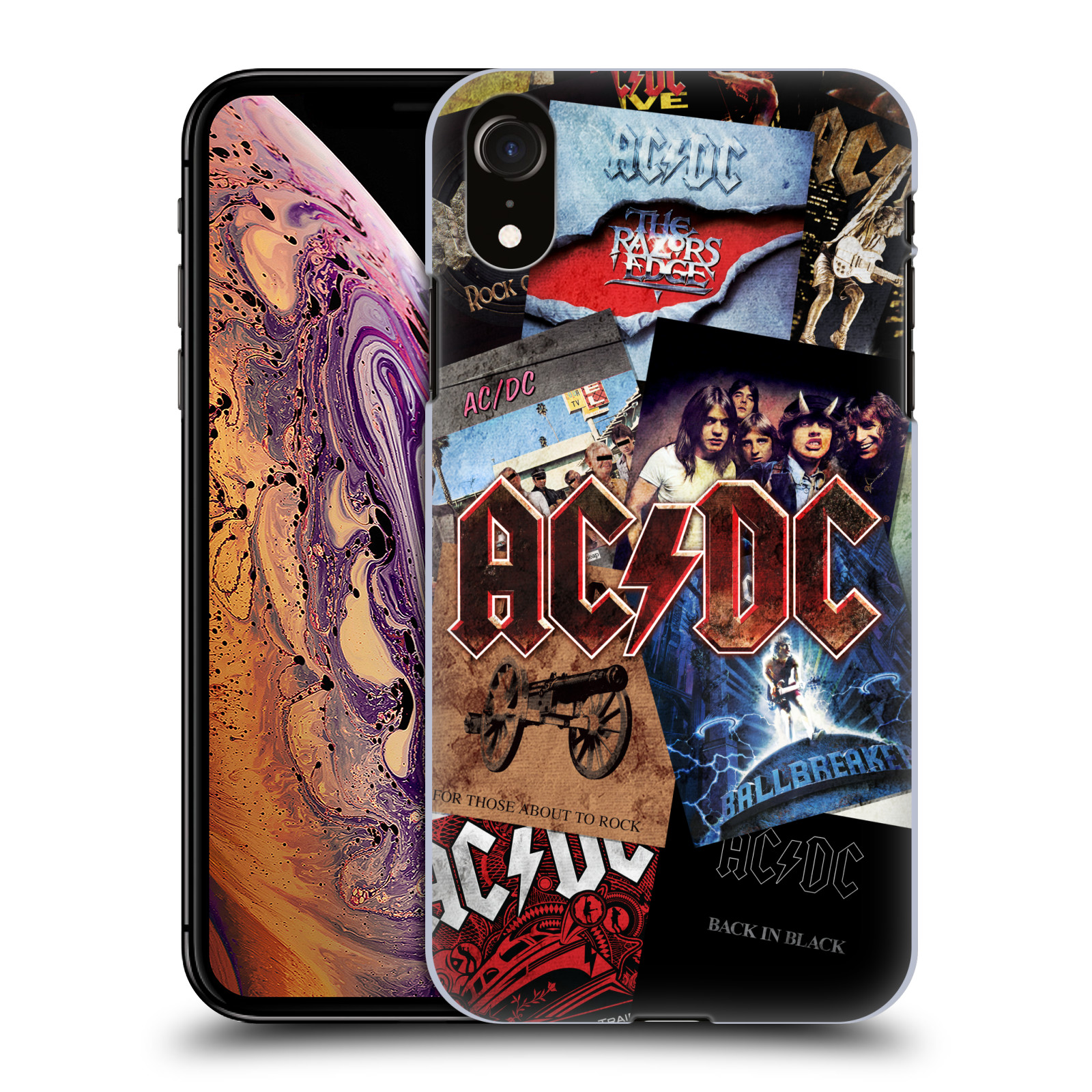 Plastové pouzdro na mobil Apple iPhone XR - Head Case - AC/DC Koláž desek
