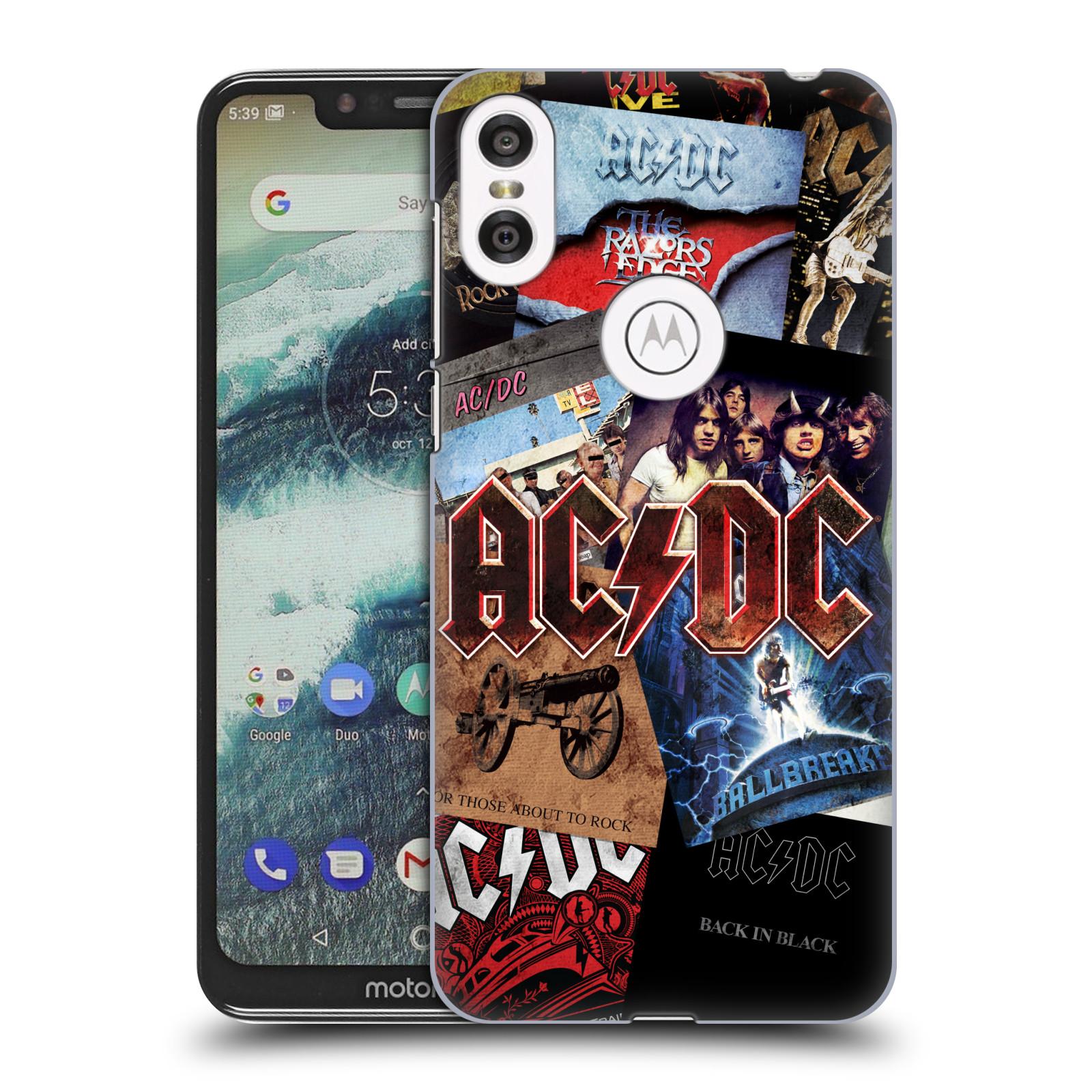 Plastové pouzdro na mobil Motorola One - Head Case - AC/DC Koláž desek