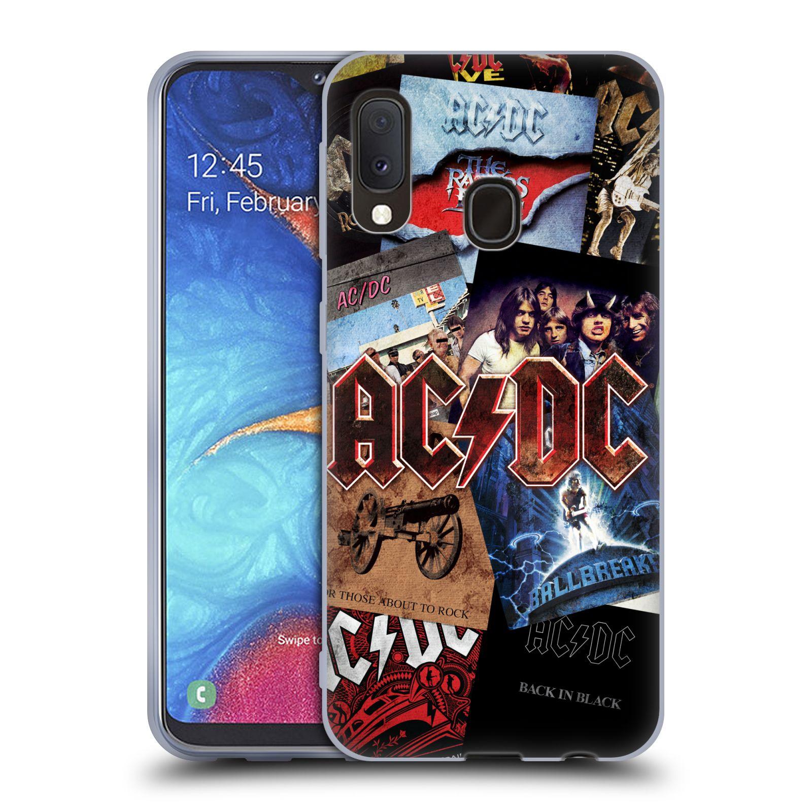 Silikonové pouzdro na mobil Samsung Galaxy A20e - Head Case - AC/DC Koláž desek