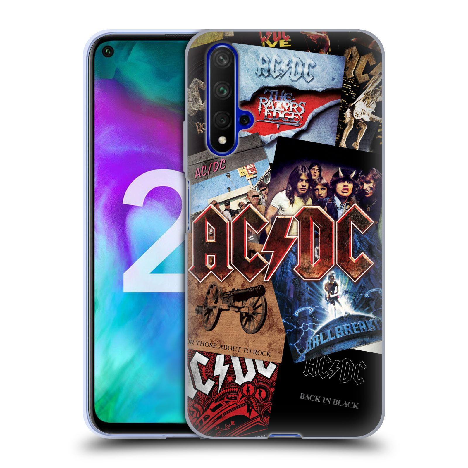Silikonové pouzdro na mobil Honor 20 - Head Case - AC/DC Koláž desek