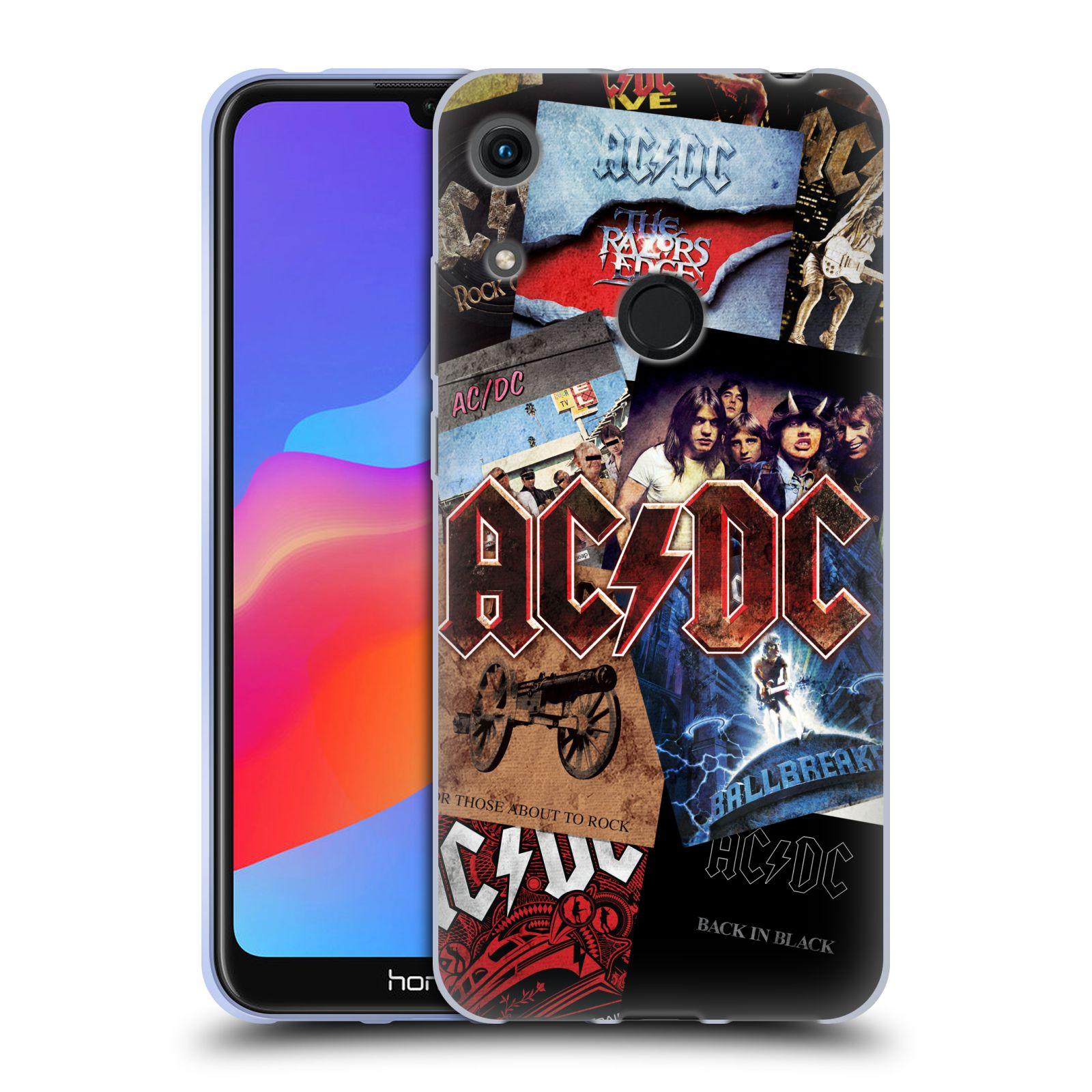 Silikonové pouzdro na mobil Honor 8A - Head Case - AC/DC Koláž desek
