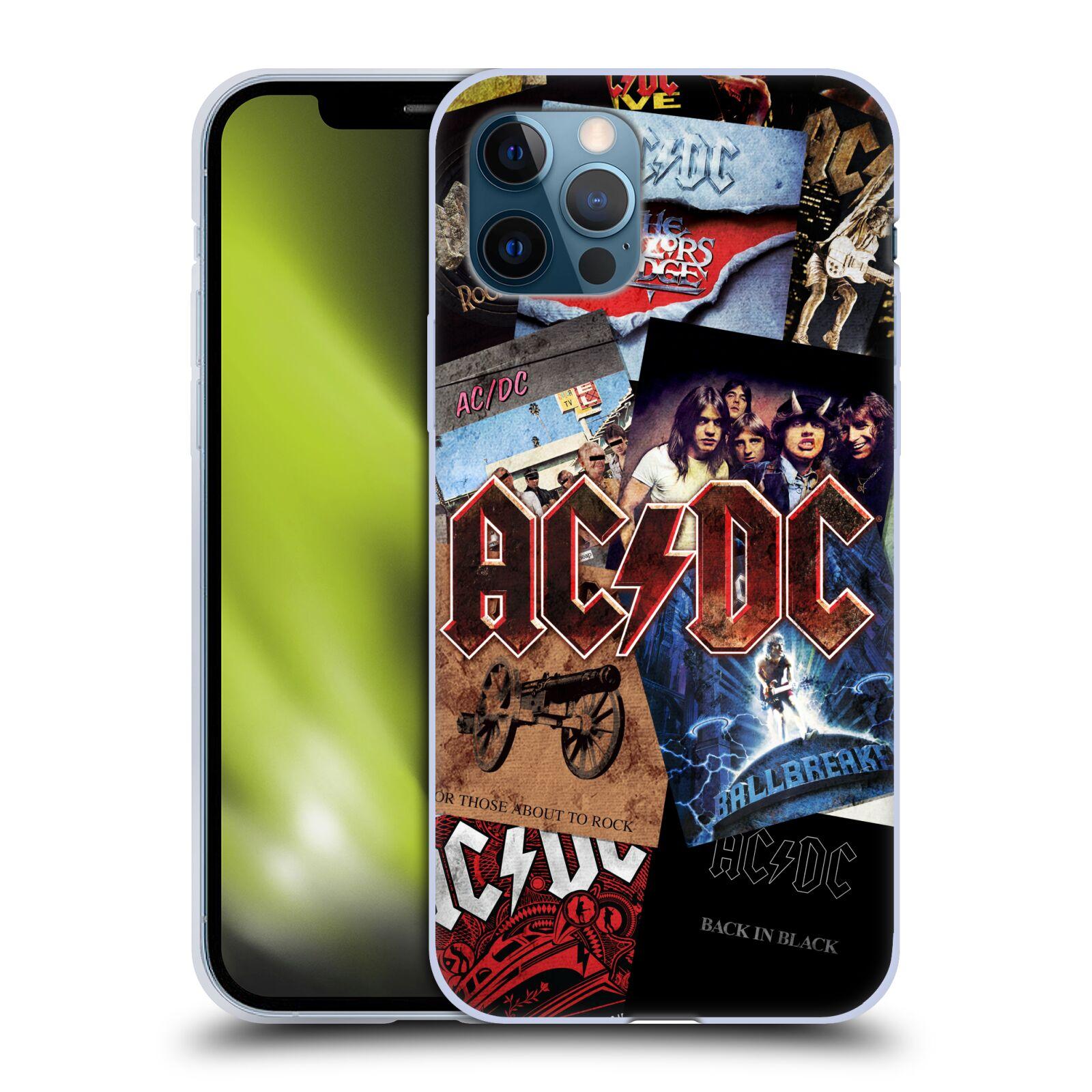 Silikonové pouzdro na mobil Apple iPhone 12 / 12 Pro - Head Case - AC/DC Koláž desek