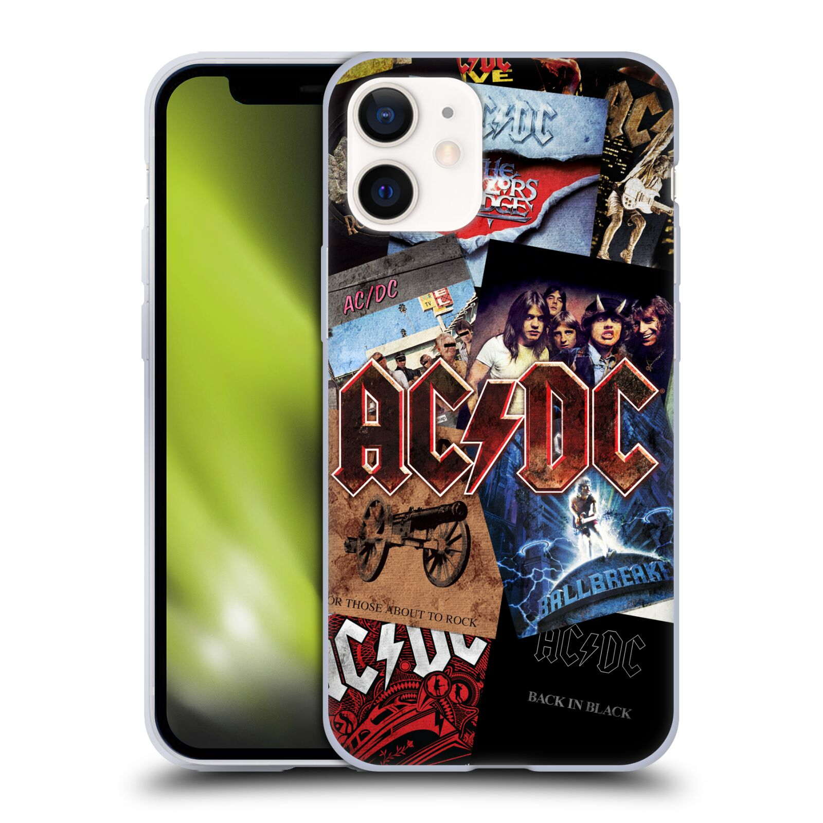 Silikonové pouzdro na mobil Apple iPhone 12 Mini - Head Case - AC/DC Koláž desek