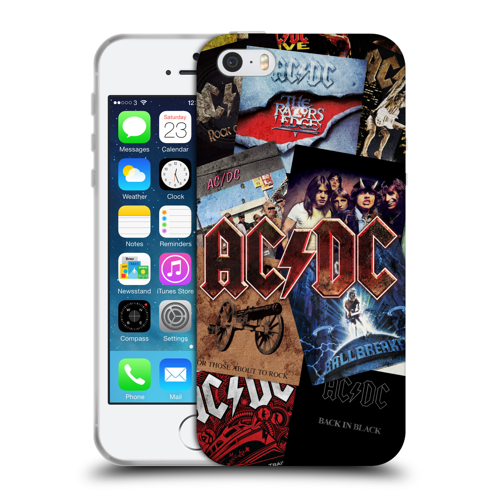 Silikonové pouzdro na mobil Apple iPhone 5, 5S, SE - Head Case - AC/DC Koláž desek