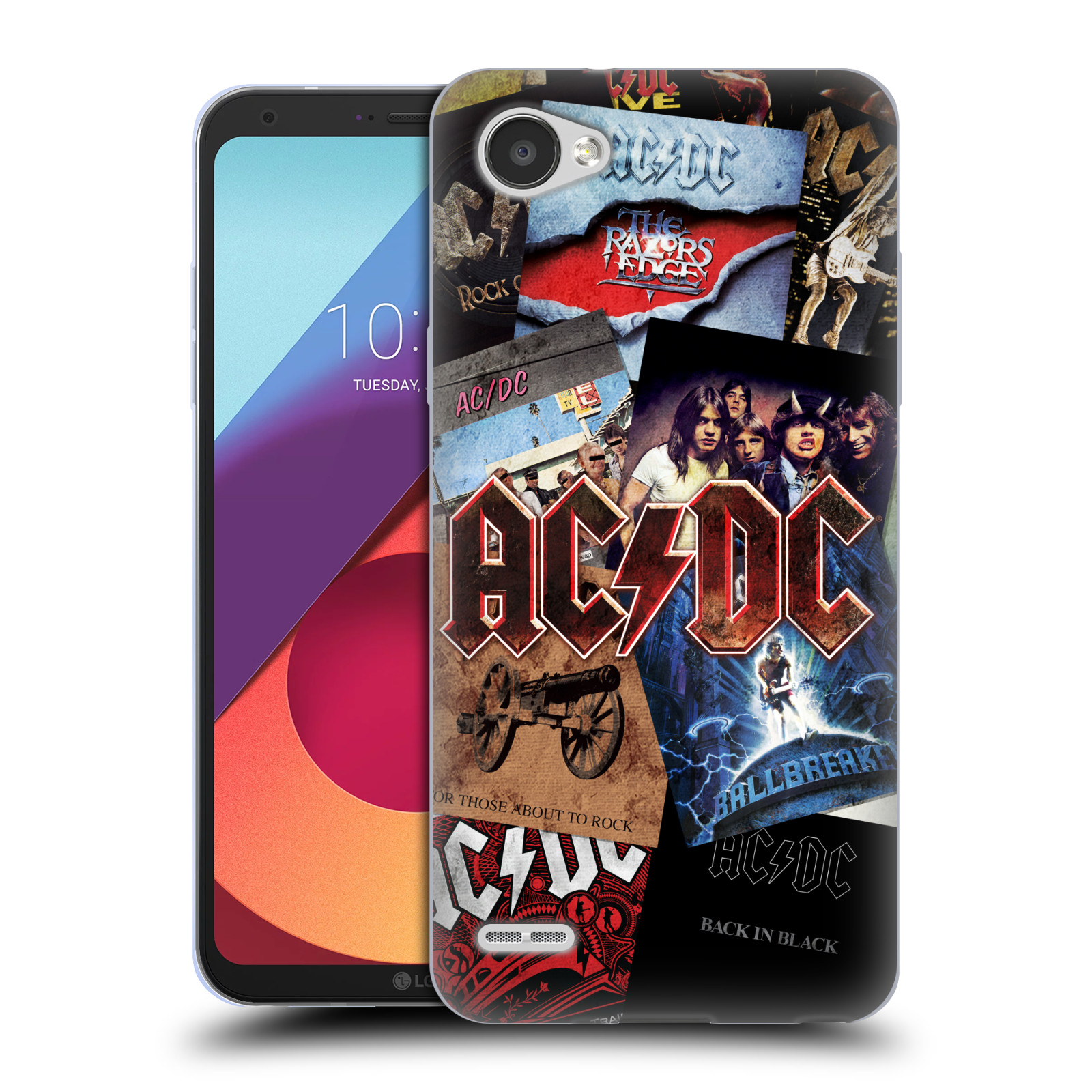 Silikonové pouzdro na mobil LG Q6 - Head Case - AC/DC Koláž desek