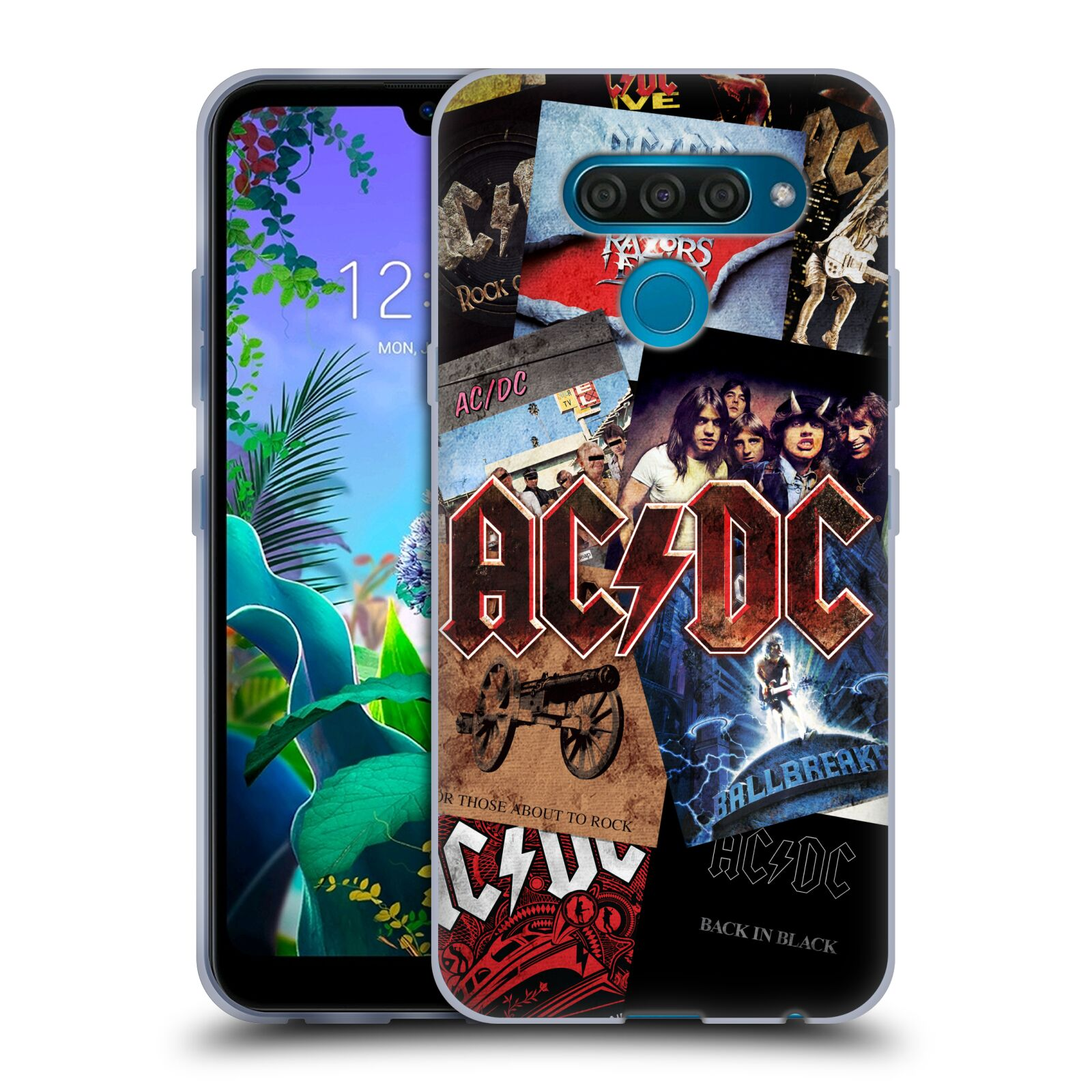 Silikonové pouzdro na mobil LG Q60 - Head Case - AC/DC Koláž desek