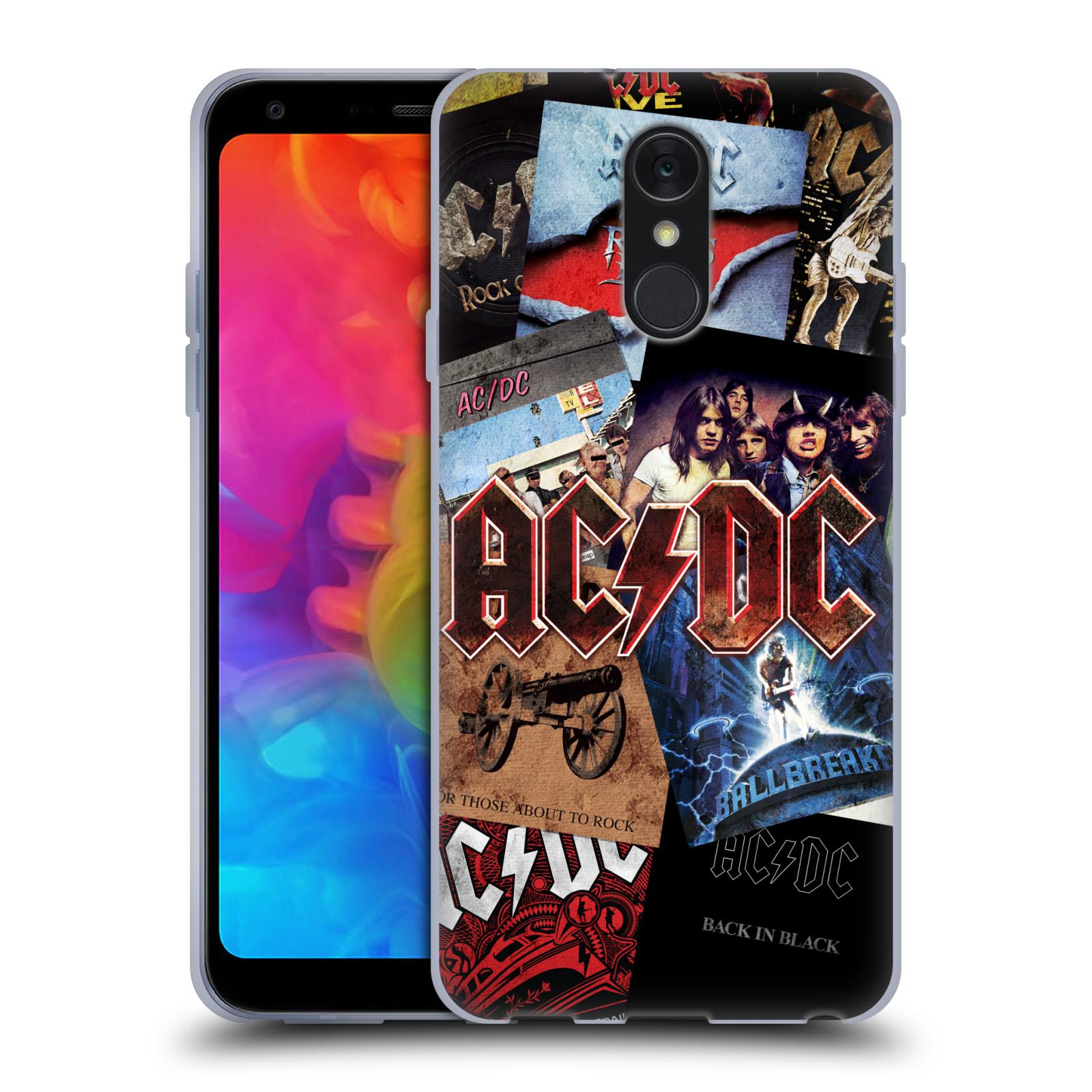Silikonové pouzdro na mobil LG Q7 - Head Case - AC/DC Koláž desek