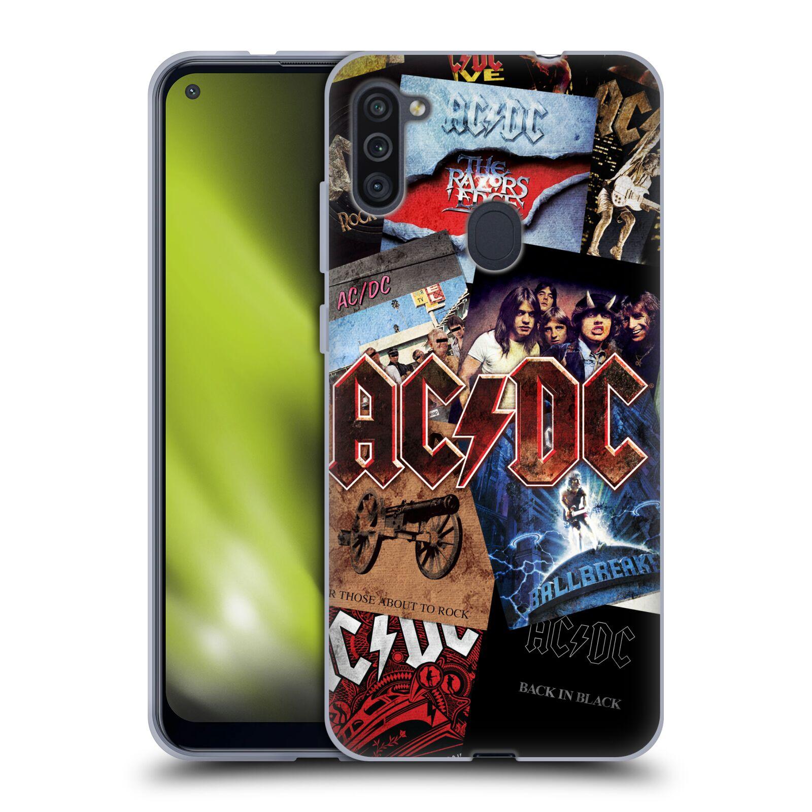 Silikonové pouzdro na mobil Samsung Galaxy M11 - Head Case - AC/DC Koláž desek