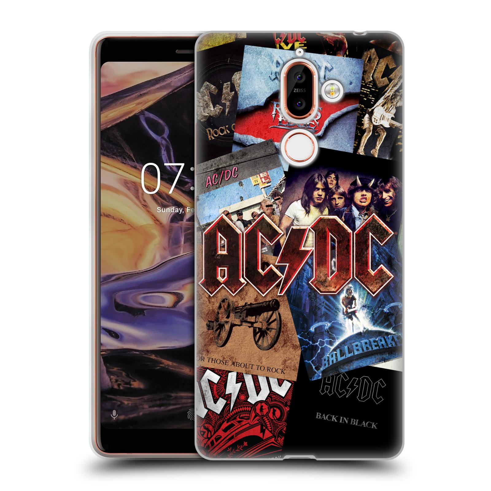 Silikonové pouzdro na mobil Nokia 7 Plus - Head Case - AC/DC Koláž desek
