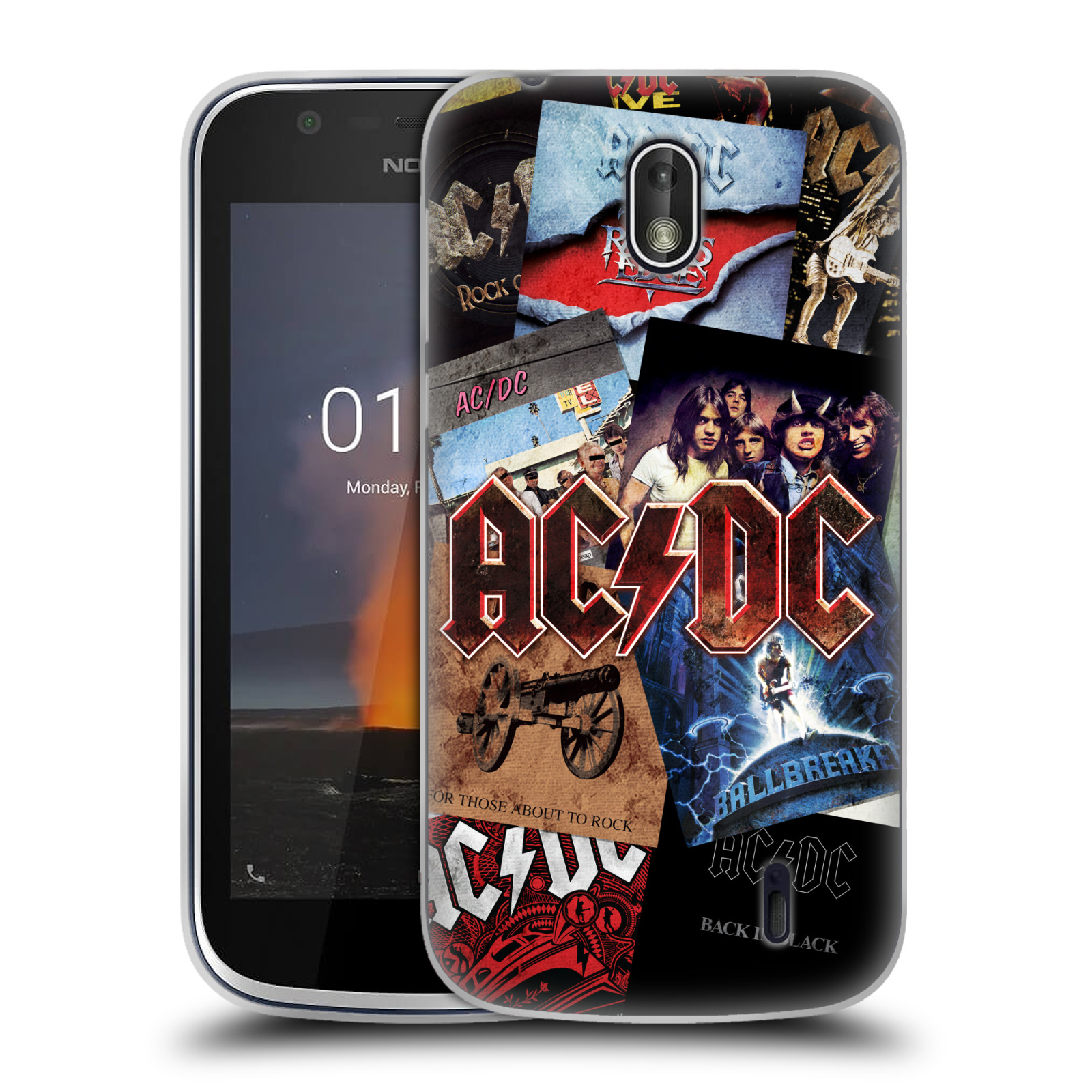 Silikonové pouzdro na mobil Nokia 1 - Head Case - AC/DC Koláž desek