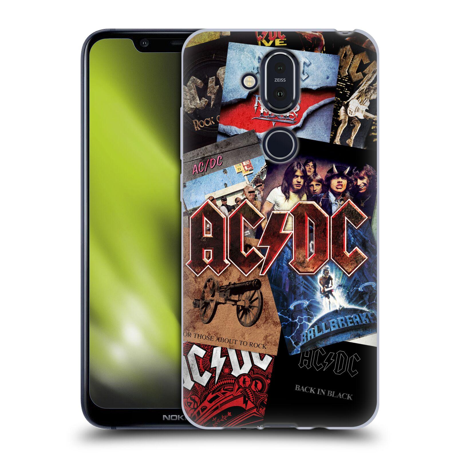 Silikonové pouzdro na mobil Nokia 8.1 - Head Case - AC/DC Koláž desek