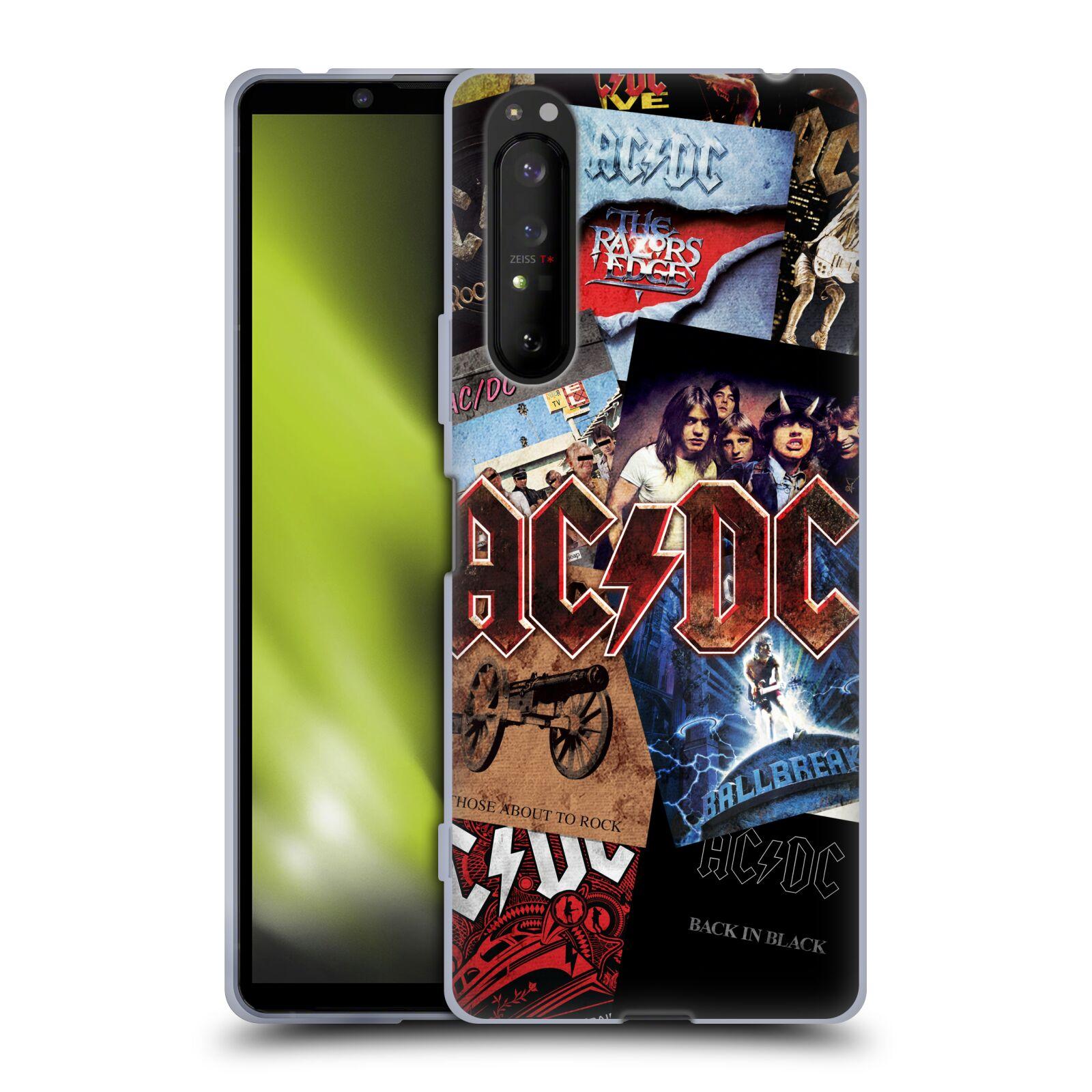 Silikonové pouzdro na mobil Sony Xperia 1 II - Head Case - AC/DC Koláž desek