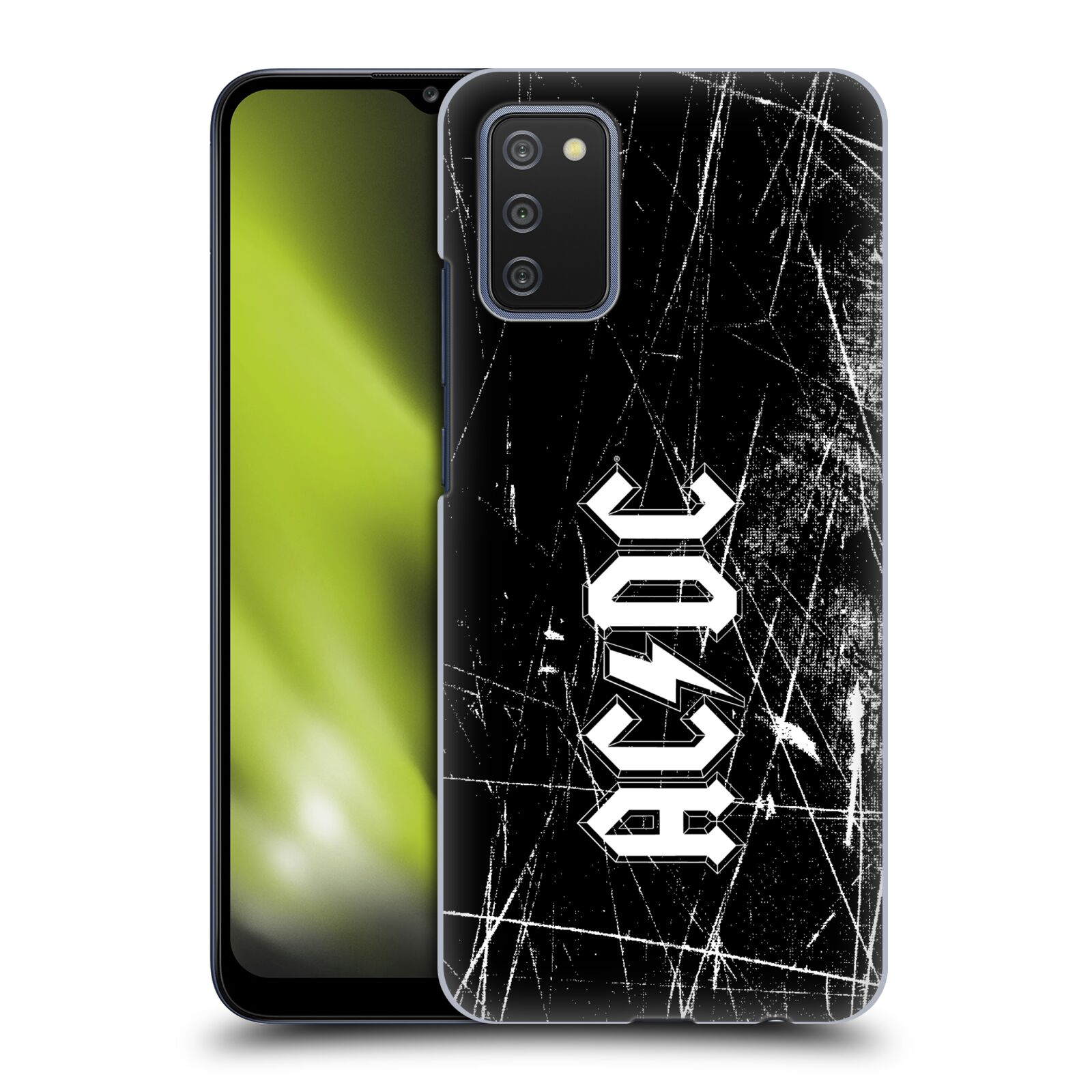 Plastové pouzdro na mobil Samsung Galaxy A02s - Head Case - AC/DC Černobílé logo