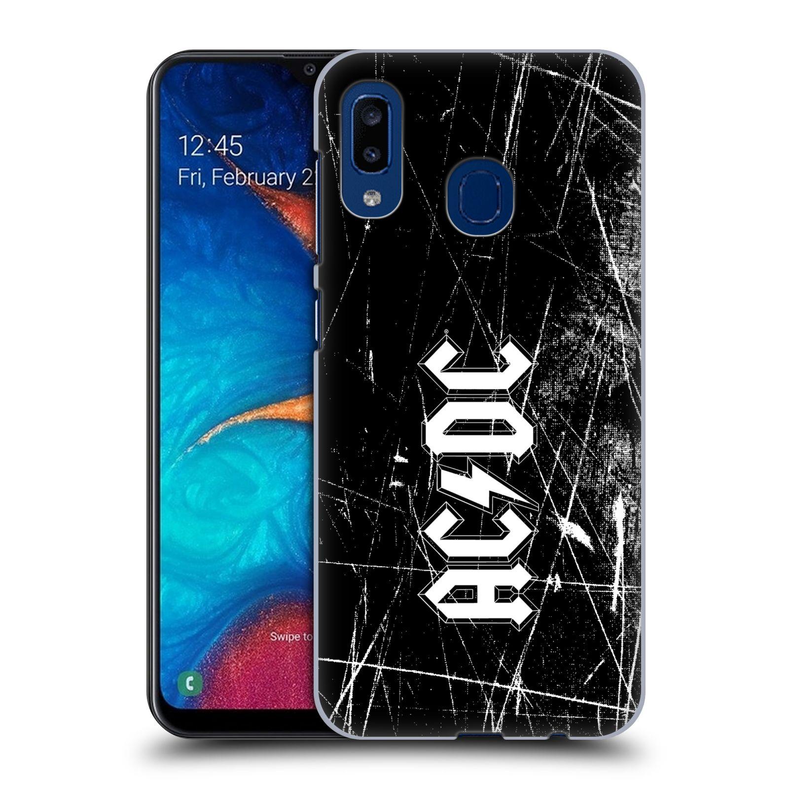 Plastové pouzdro na mobil Samsung Galaxy A20 - Head Case - AC/DC Černobílé logo