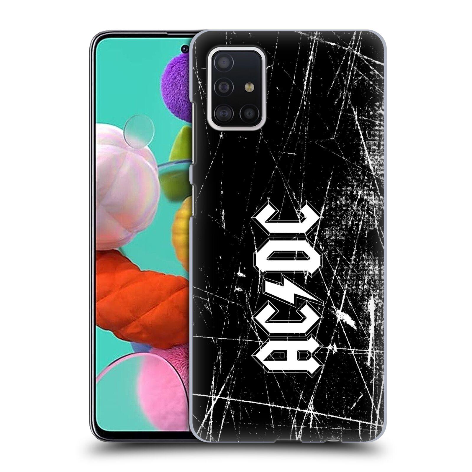 Plastové pouzdro na mobil Samsung Galaxy A51 - Head Case - AC/DC Černobílé logo