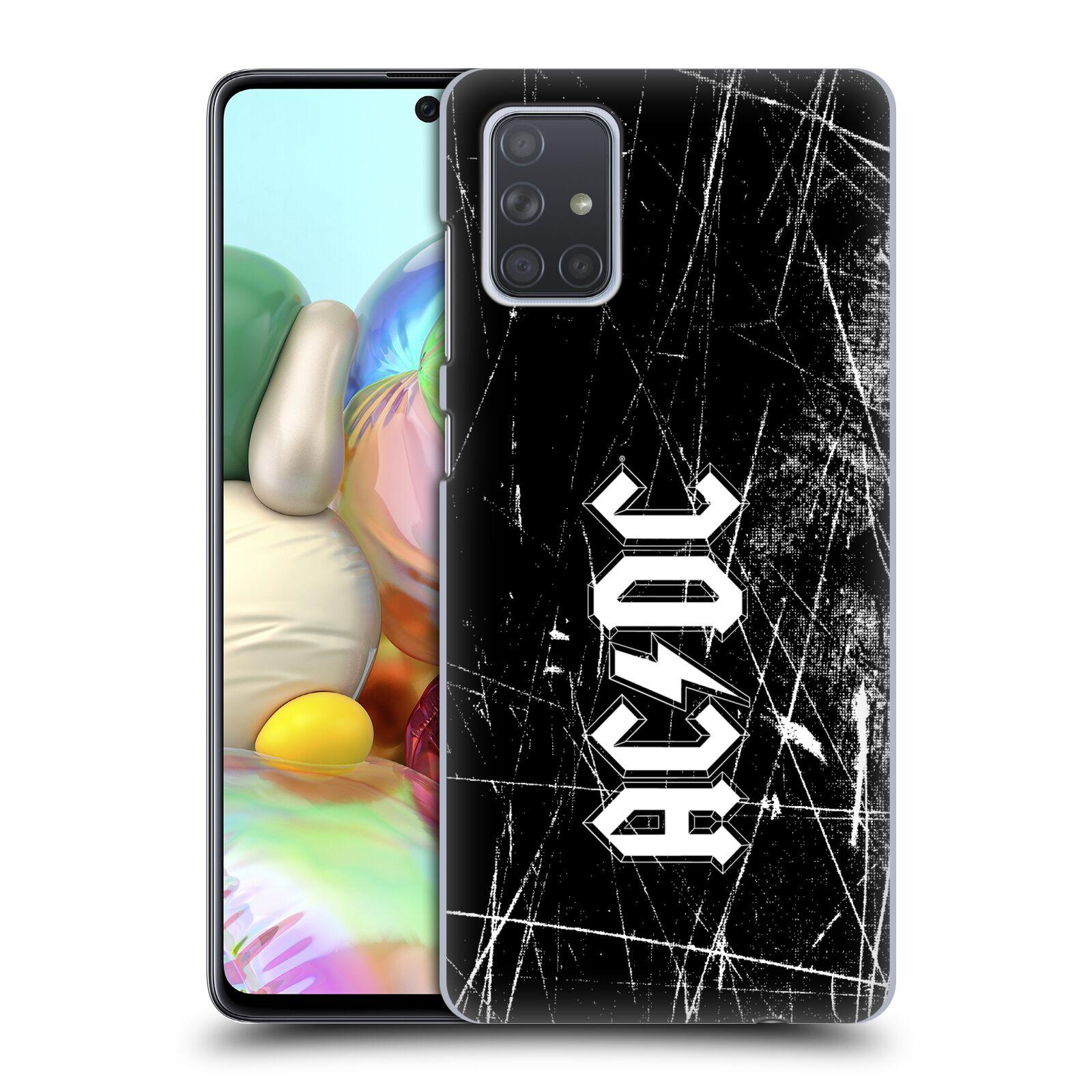 Plastové pouzdro na mobil Samsung Galaxy A71 - Head Case - AC/DC Černobílé logo