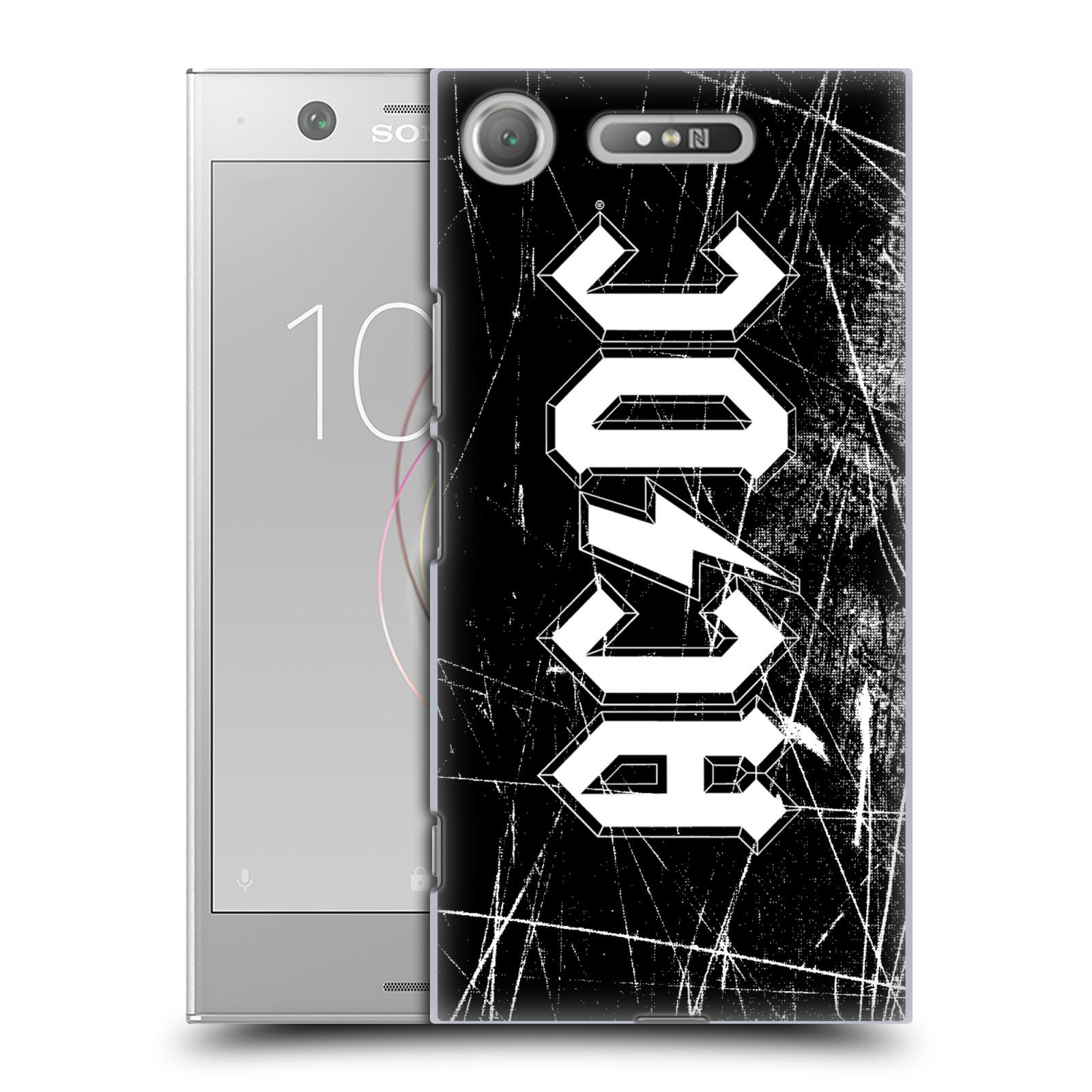 Plastové pouzdro na mobil Sony Xperia XZ1 - Head Case - AC/DC Černobílé logo