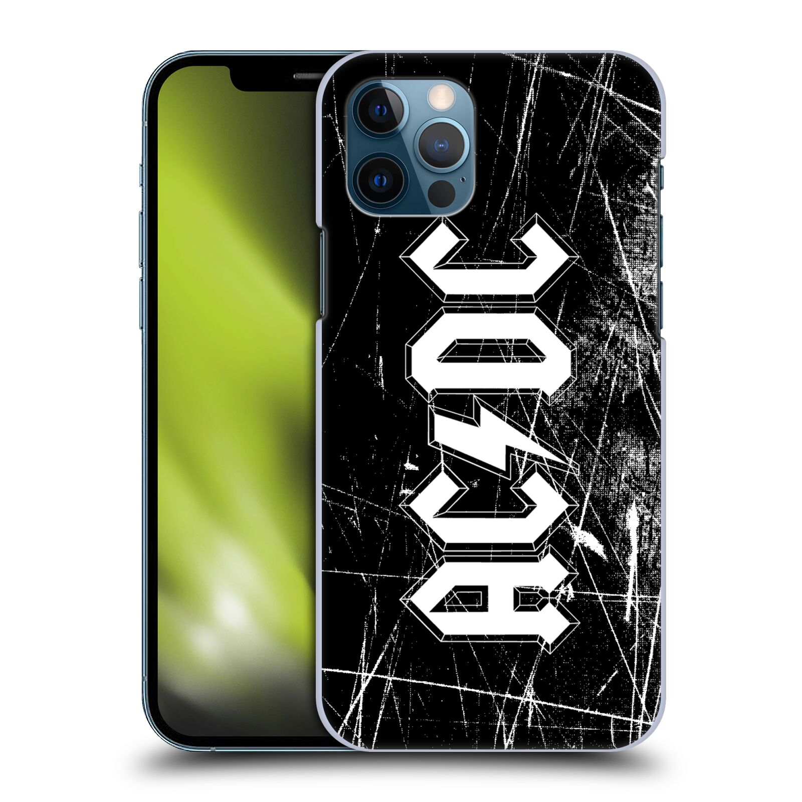 Plastové pouzdro na mobil Apple iPhone 12 / 12 Pro - Head Case - AC/DC Černobílé logo