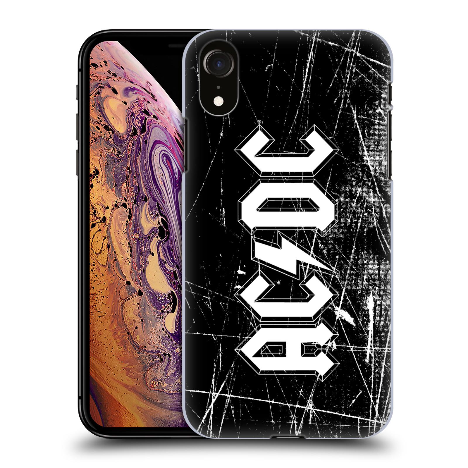 Plastové pouzdro na mobil Apple iPhone XR - Head Case - AC/DC Černobílé logo