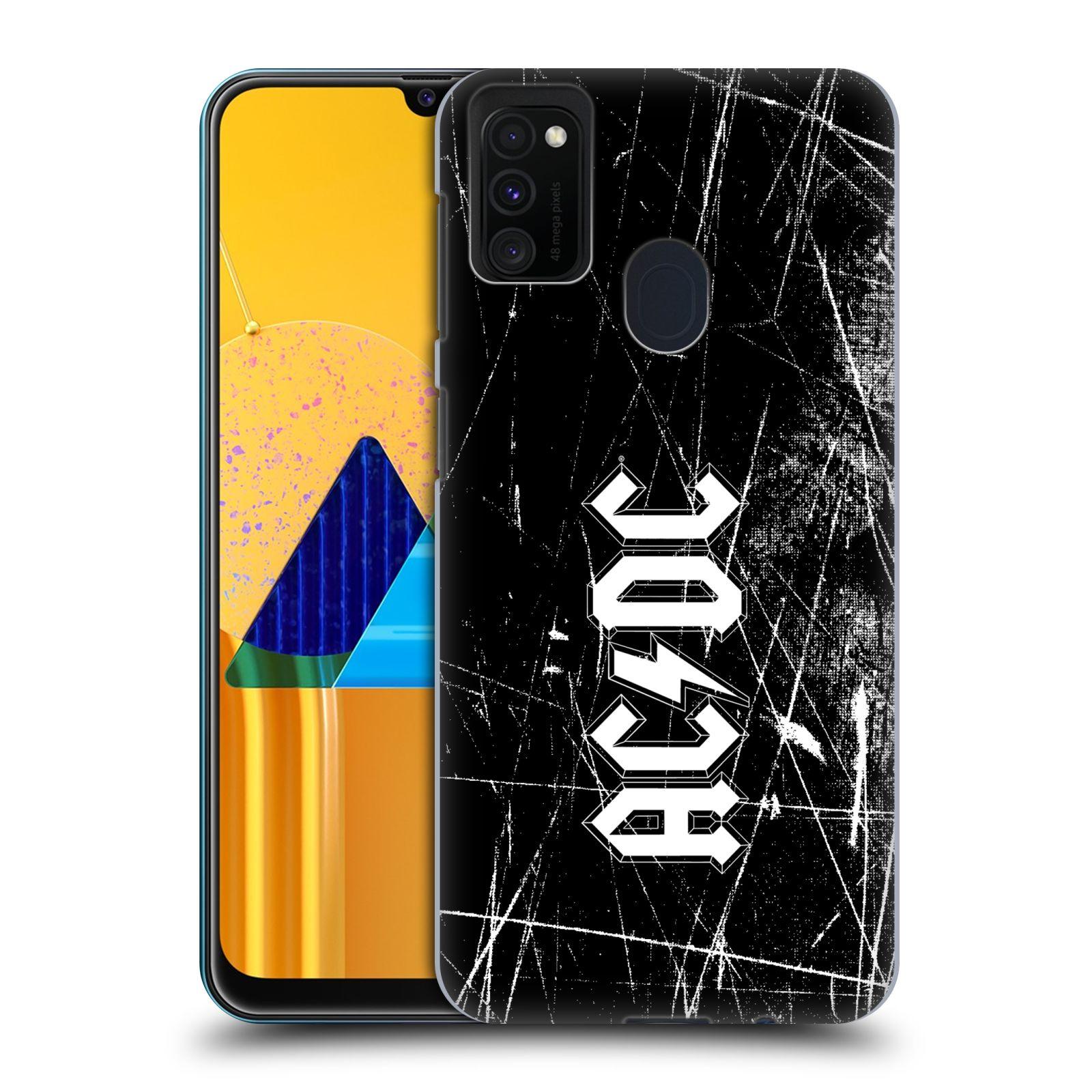 Plastové pouzdro na mobil Samsung Galaxy M21 - Head Case - AC/DC Černobílé logo