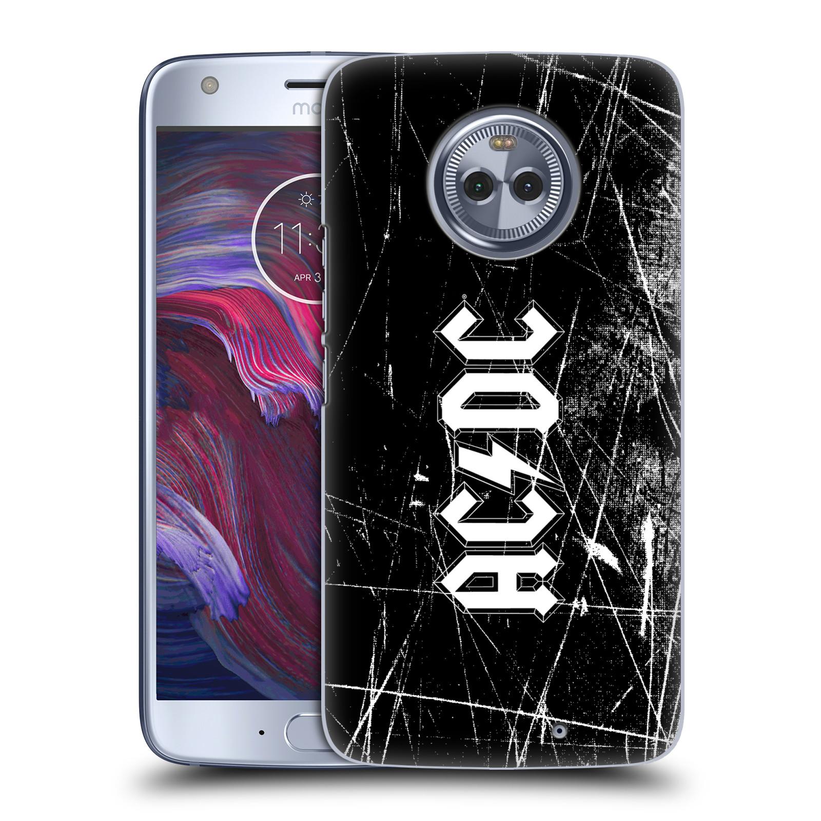 Plastové pouzdro na mobil Lenovo Moto X4 - Head Case - AC/DC Černobílé logo