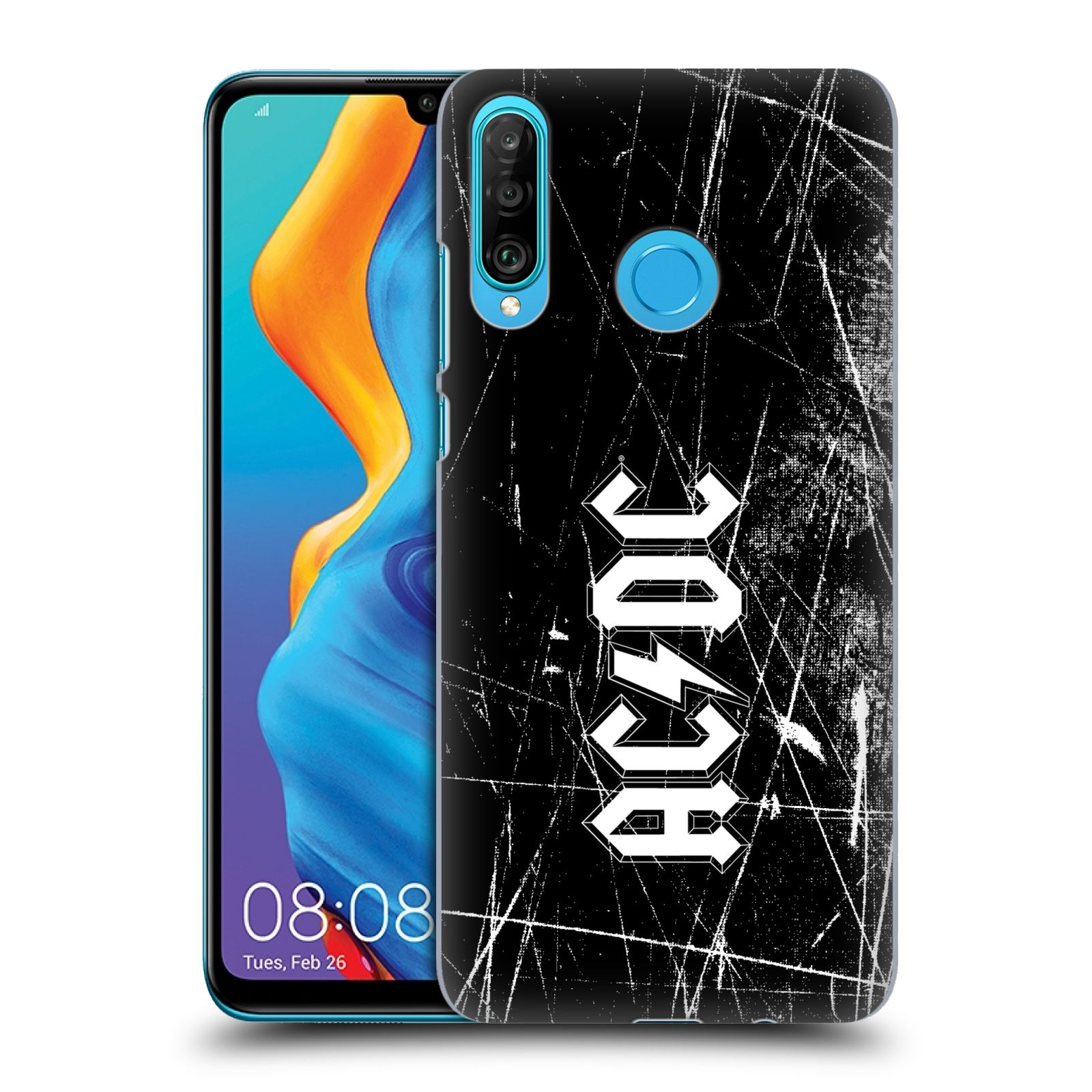 Plastové pouzdro na mobil Huawei P30 Lite - Head Case - AC/DC Černobílé logo