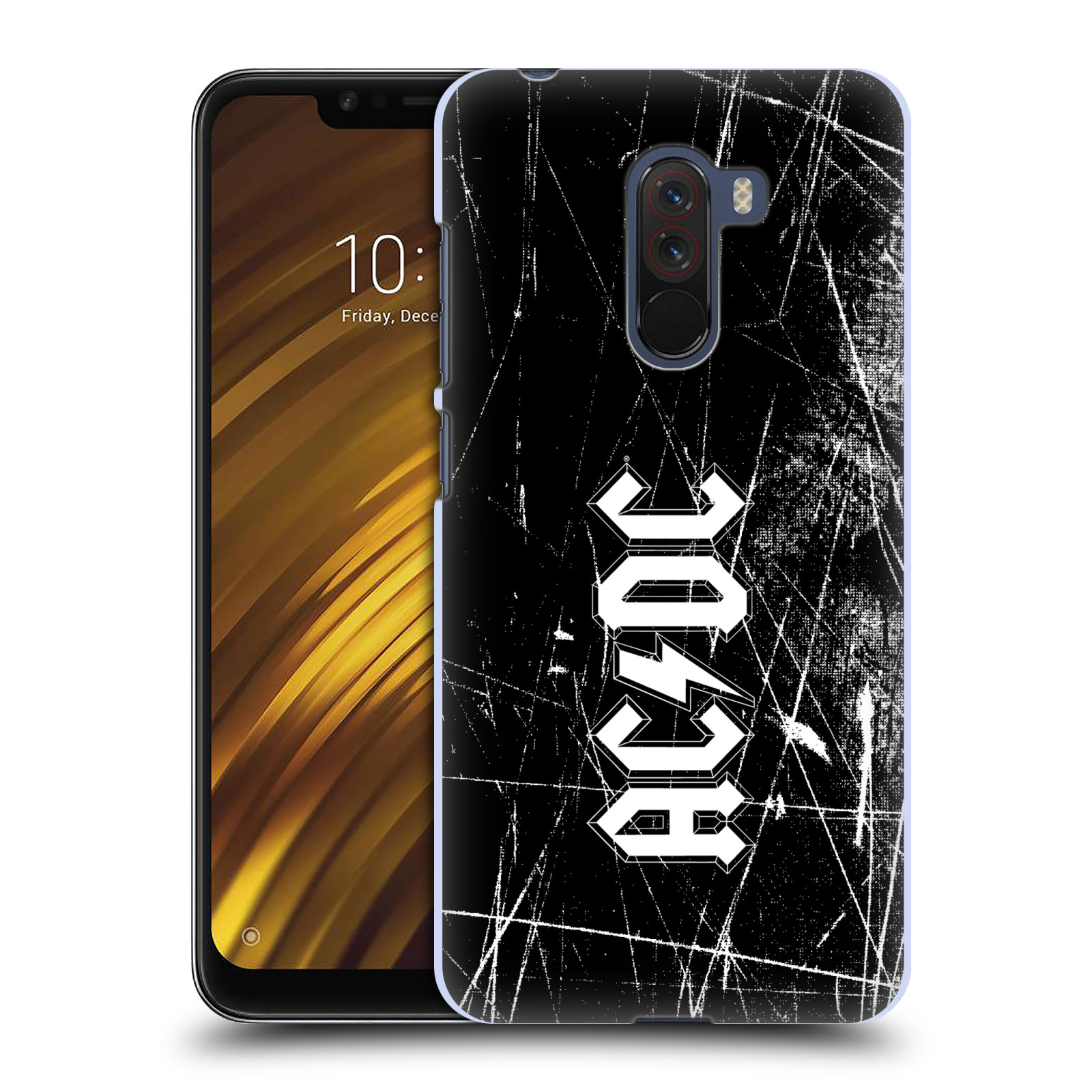 Plastové pouzdro na mobil Xiaomi Pocophone F1 - Head Case - AC/DC Černobílé logo